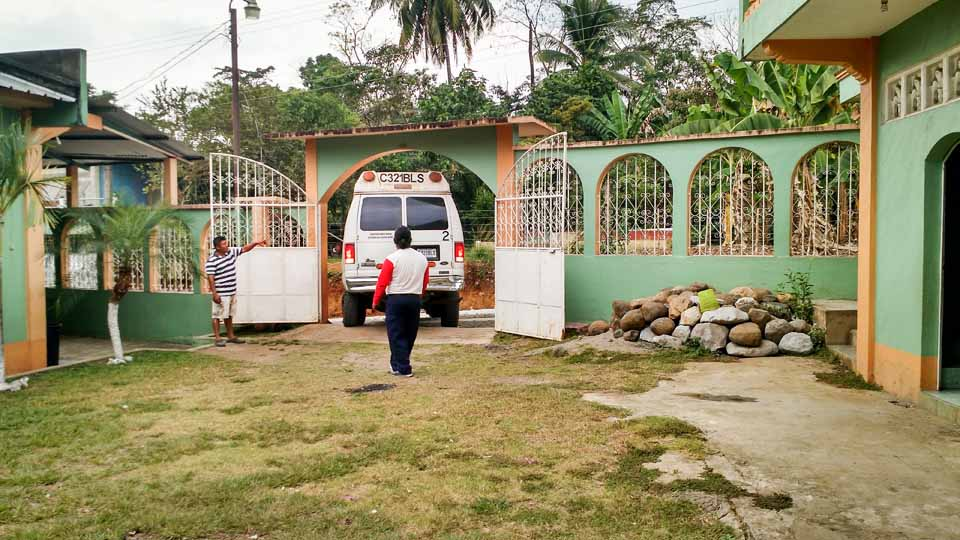 Backing into a church courtyard to unload. Our team leader, TJ Hanken, was a master of maneurvering into tight spaces.