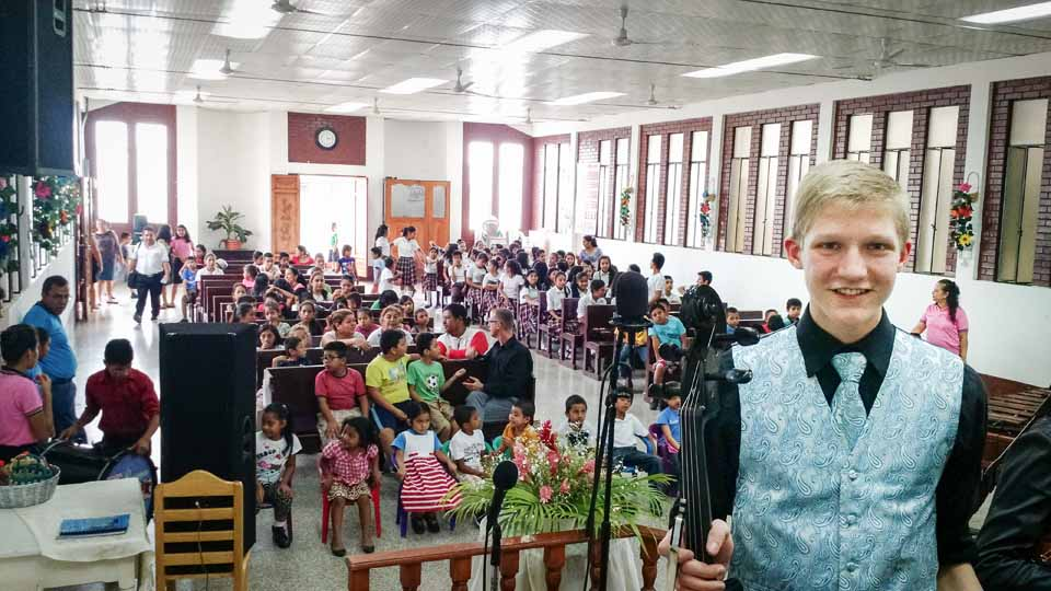 Setting up for a concert (at Pastor Manuel's church) for kids sponsored through the Compassion International program. This concert was near and dear to us, as we have sponsored kids through Compassion for years. It was really neat to hear firsthand of the impact made for Christ through this ministry.