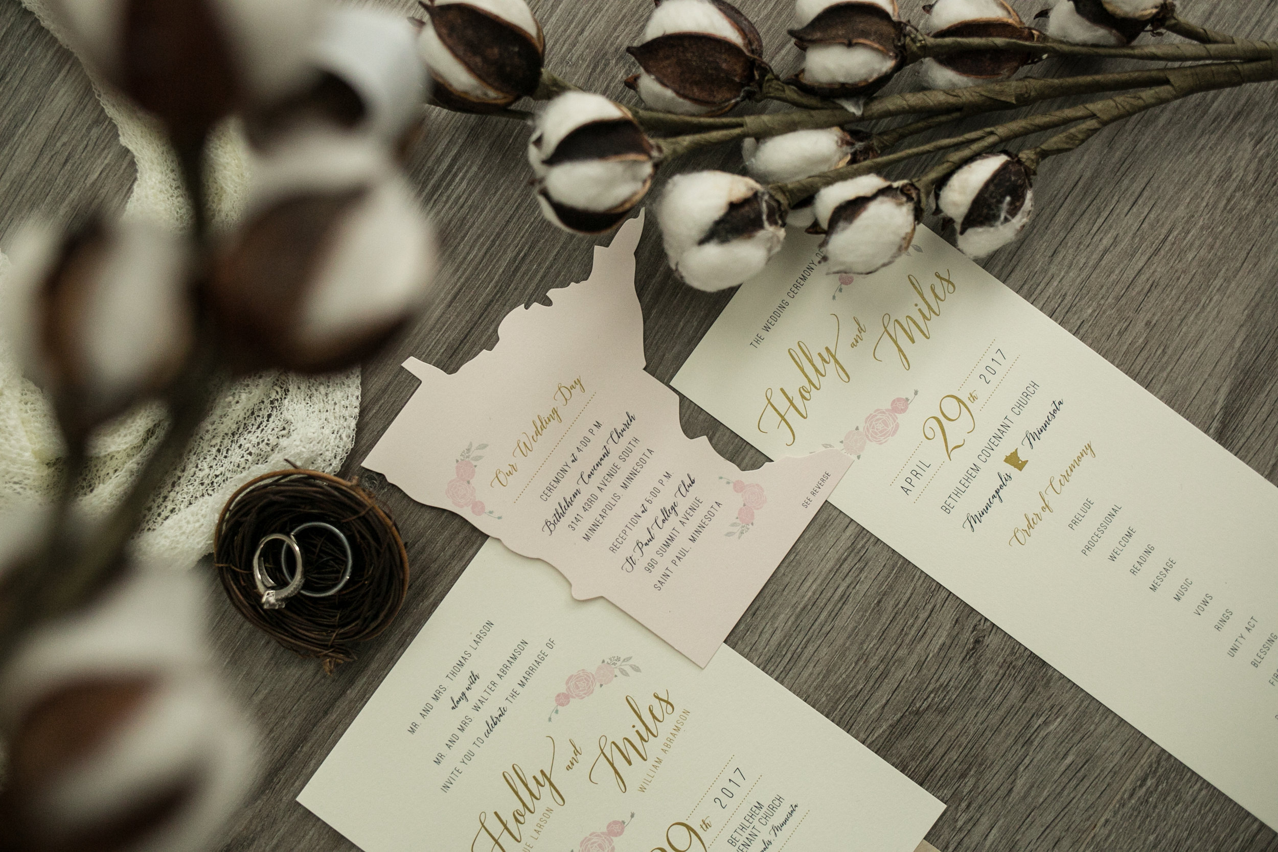 Light Pink Wedding Invitation Minneapolis photography by Chelsea Bolling