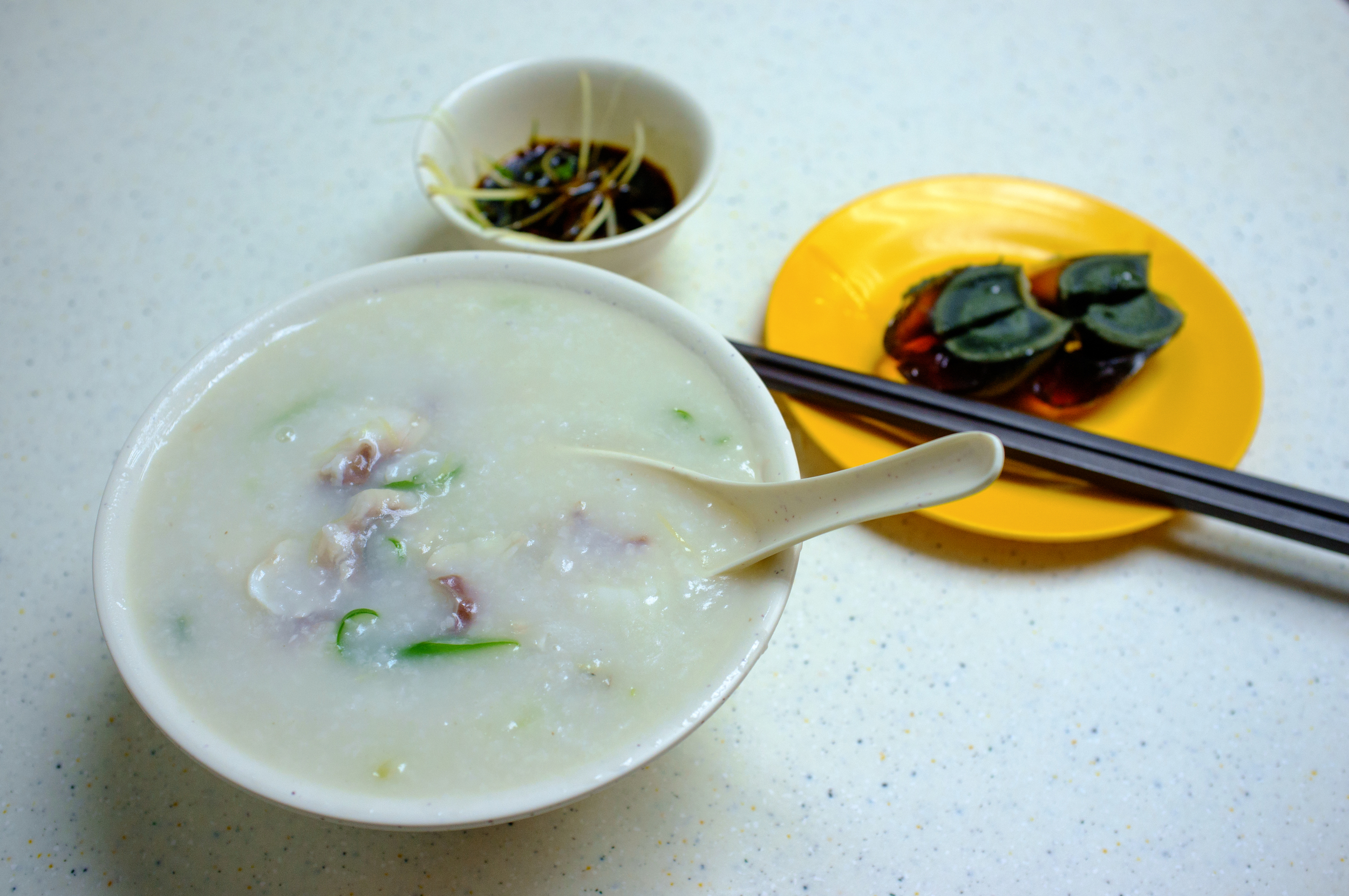 Fish Congee with Century Egg on the side, Sang Kee