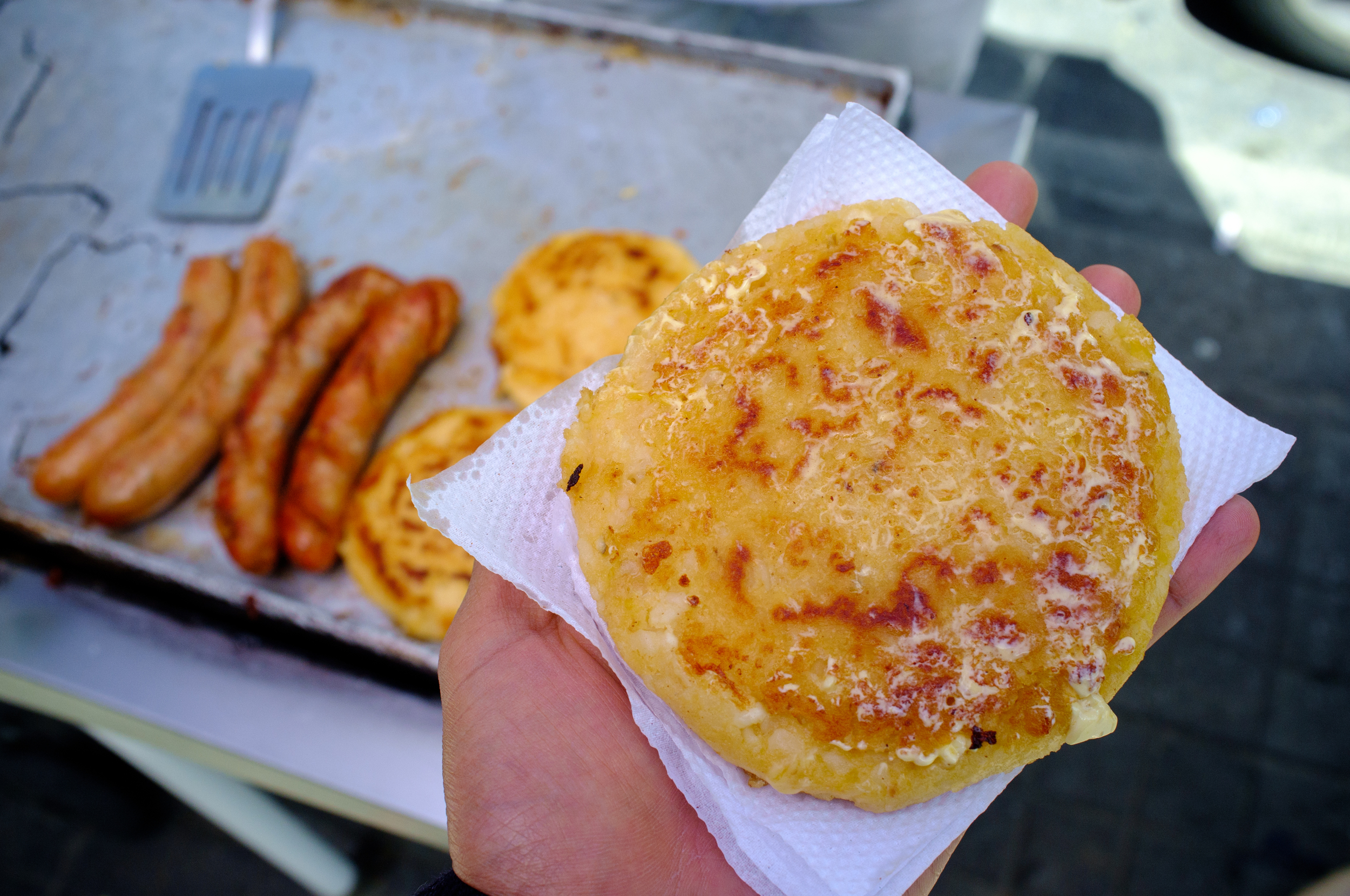Hot and buttery  arepa