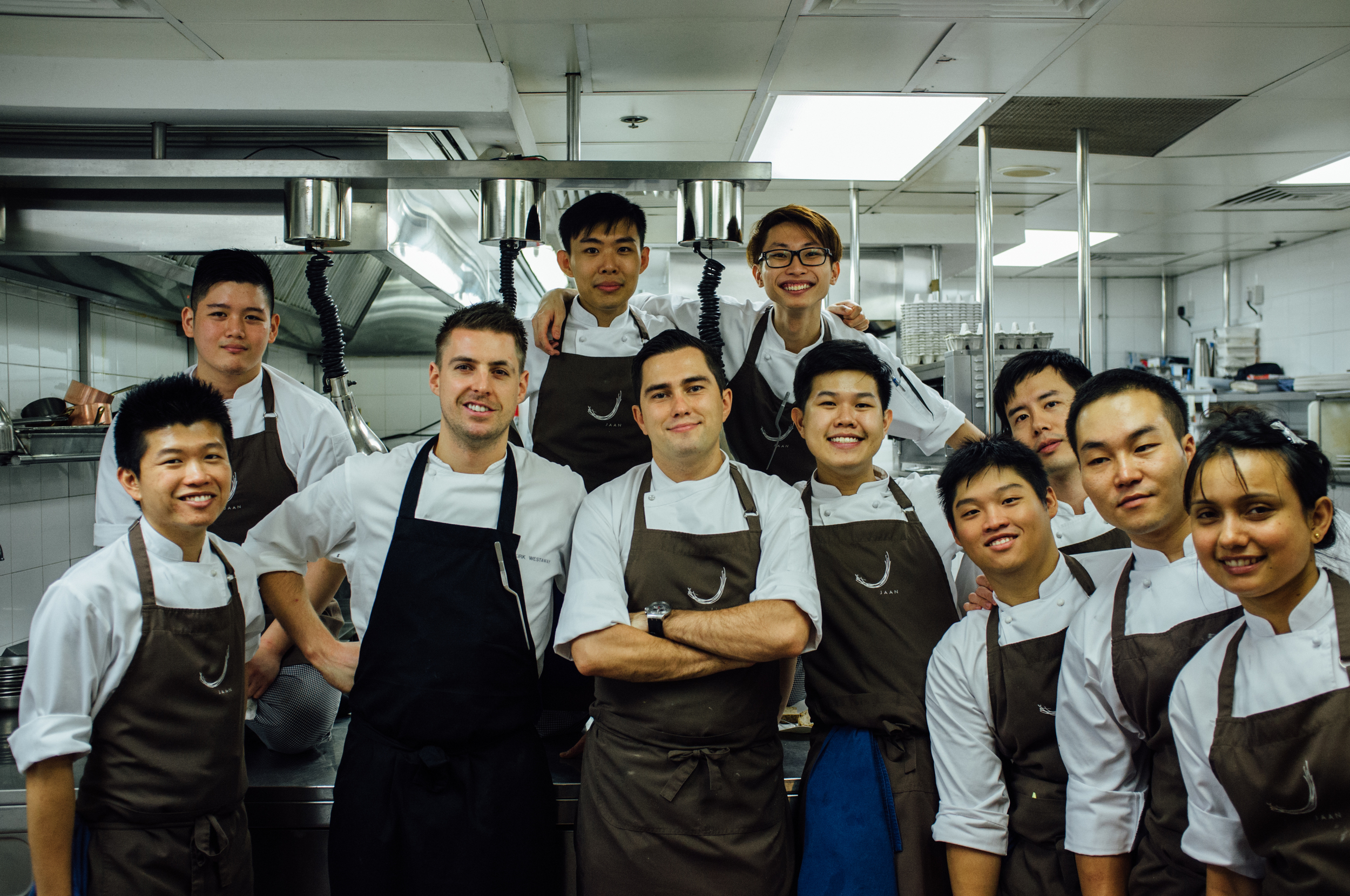 Kirk Westaway (second from left) with his kitchen team