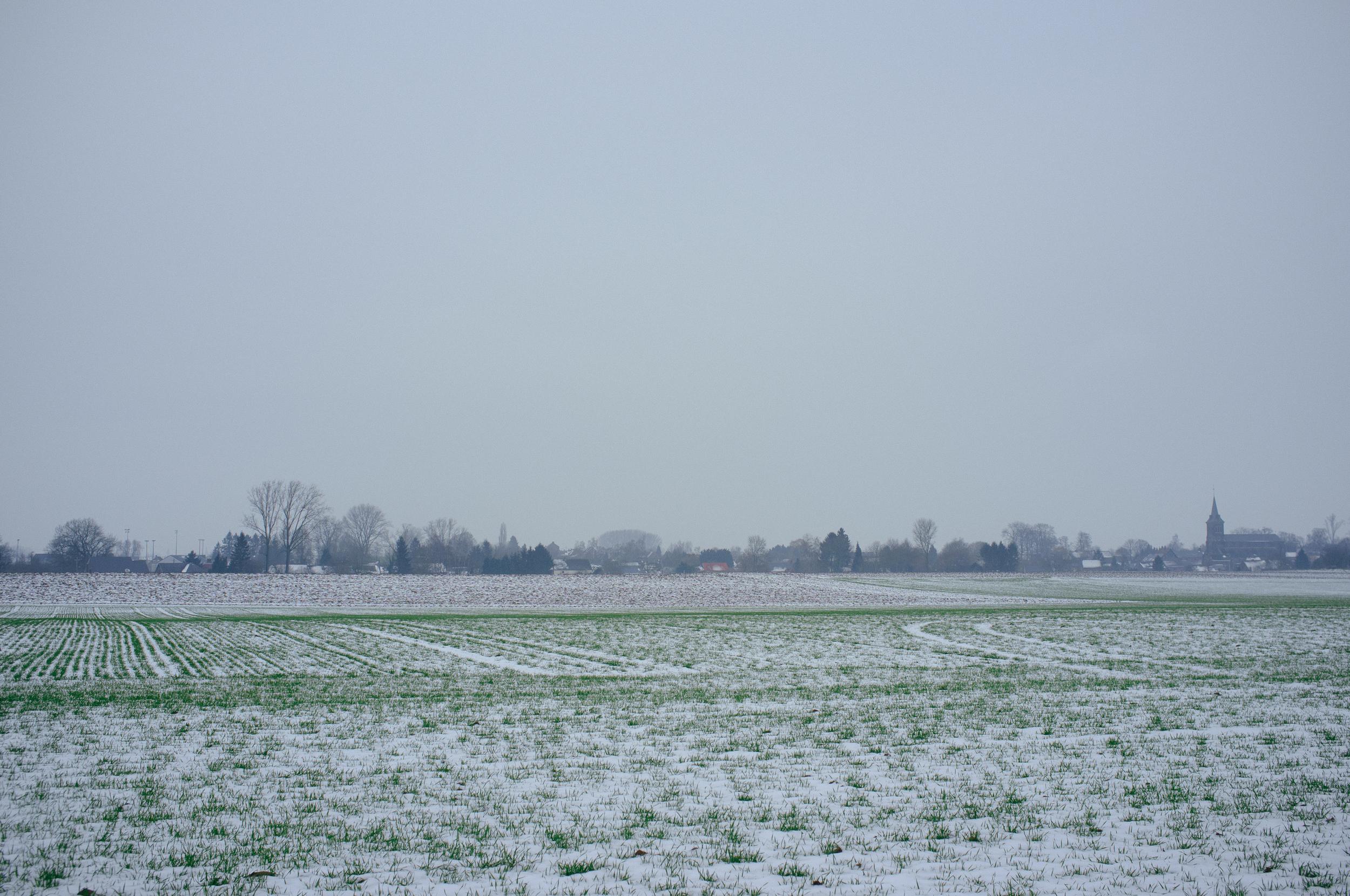 A calm snowy January in Liernu in Éghezée