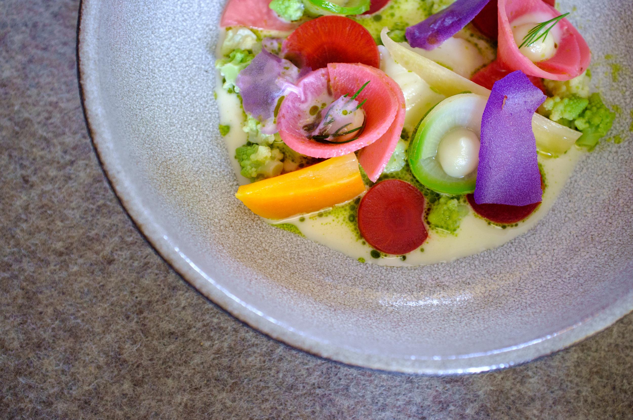Lacto-fermented vegetables, milk jus