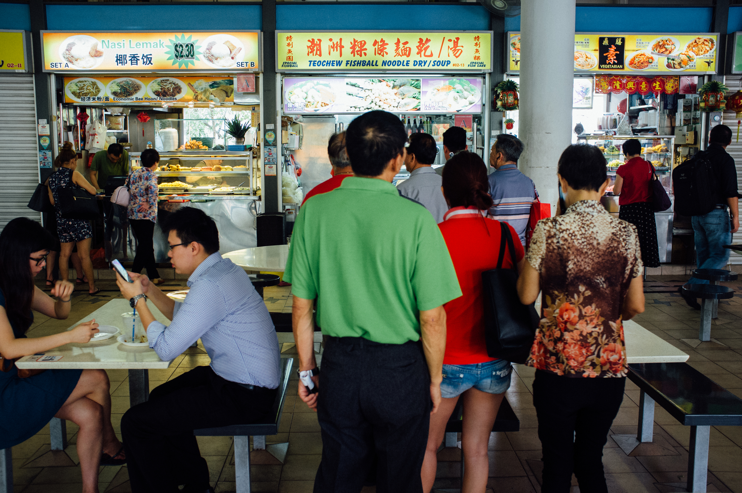 Morning Fish Ball Noodle queue, Tiong Bahru Food Centre