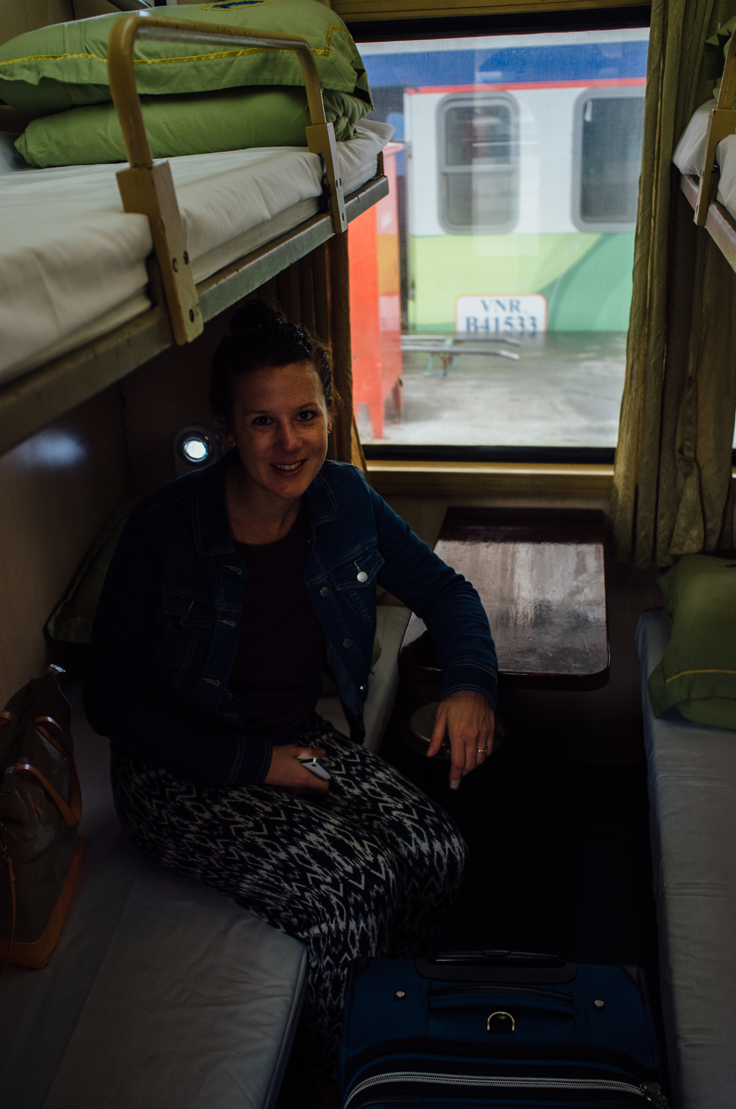 In our sleeper car on the train ride from Hanoi