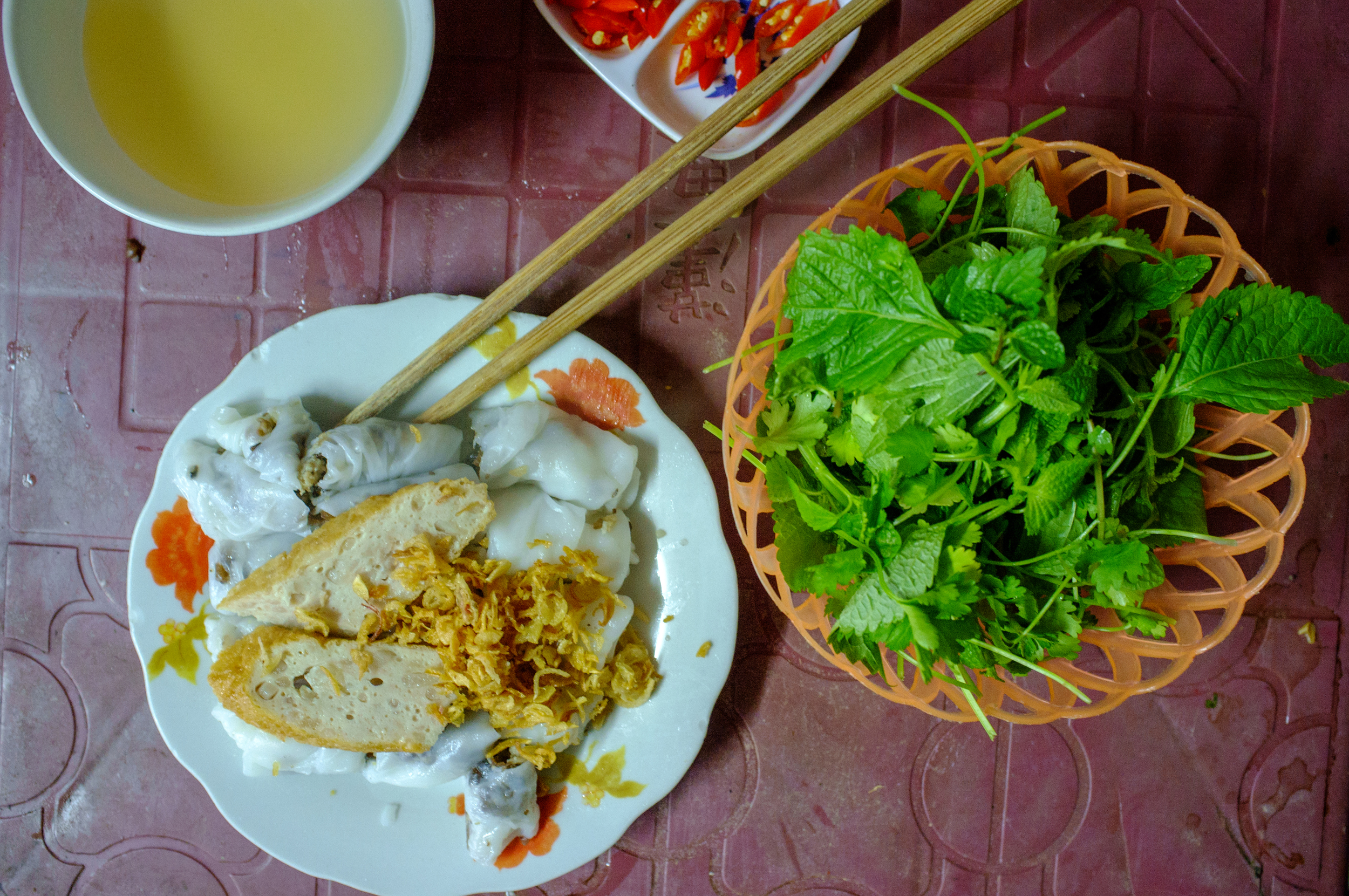 Bánh cuốn  is a common breakfast food