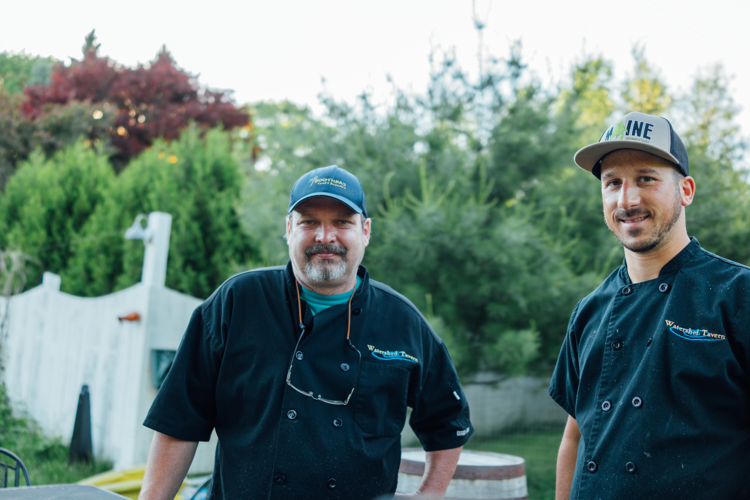 Jeff, head chef, and Max, sous chef, at Watershed Tavern, the restaurant attached to Boothbay Craft Brewery