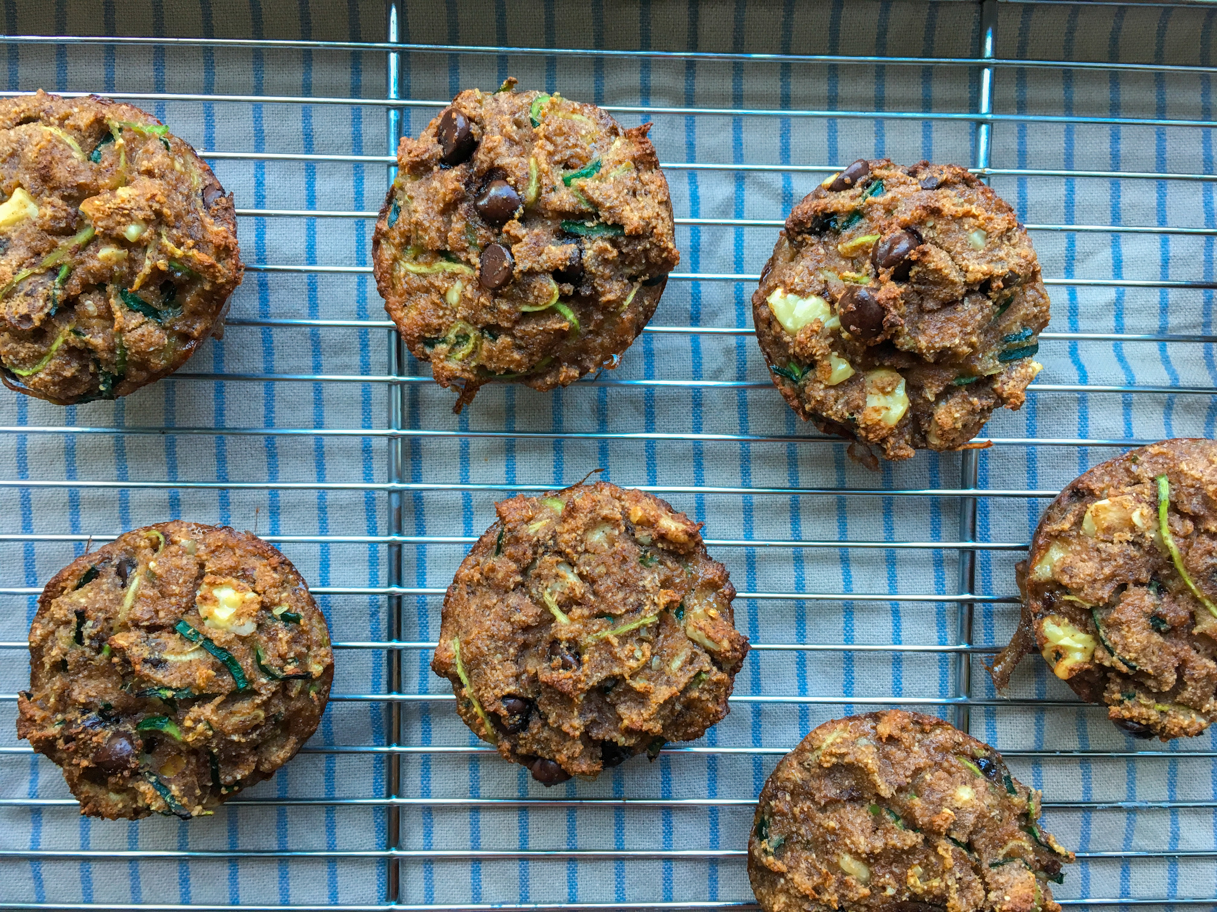 Zucchini muffins with chocolate chips and walnuts