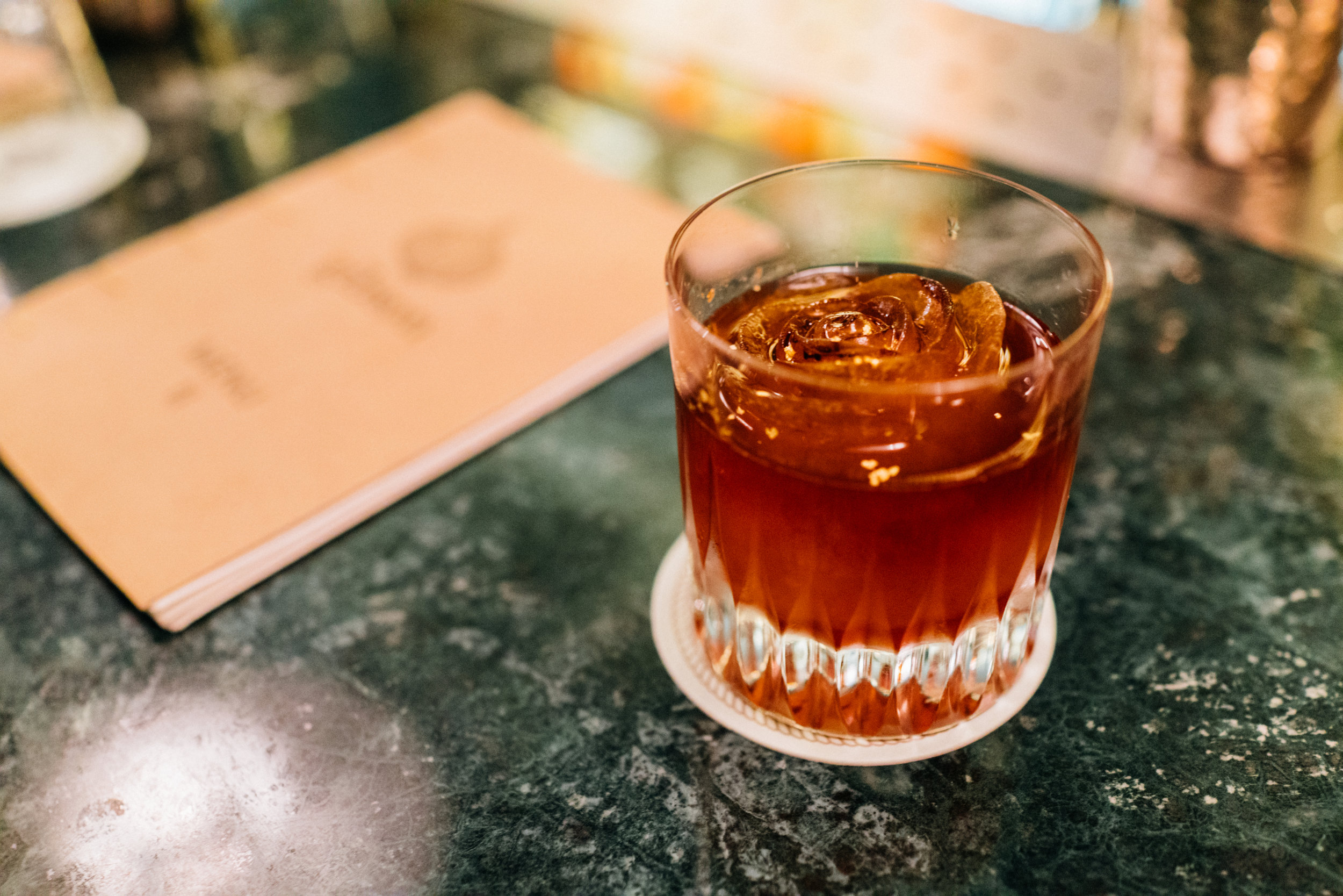 The Prohibition: Cutty Sark scotch, Antica Formula, grapefruit and orange Campari and cold-brewed coffee ice at Gibson