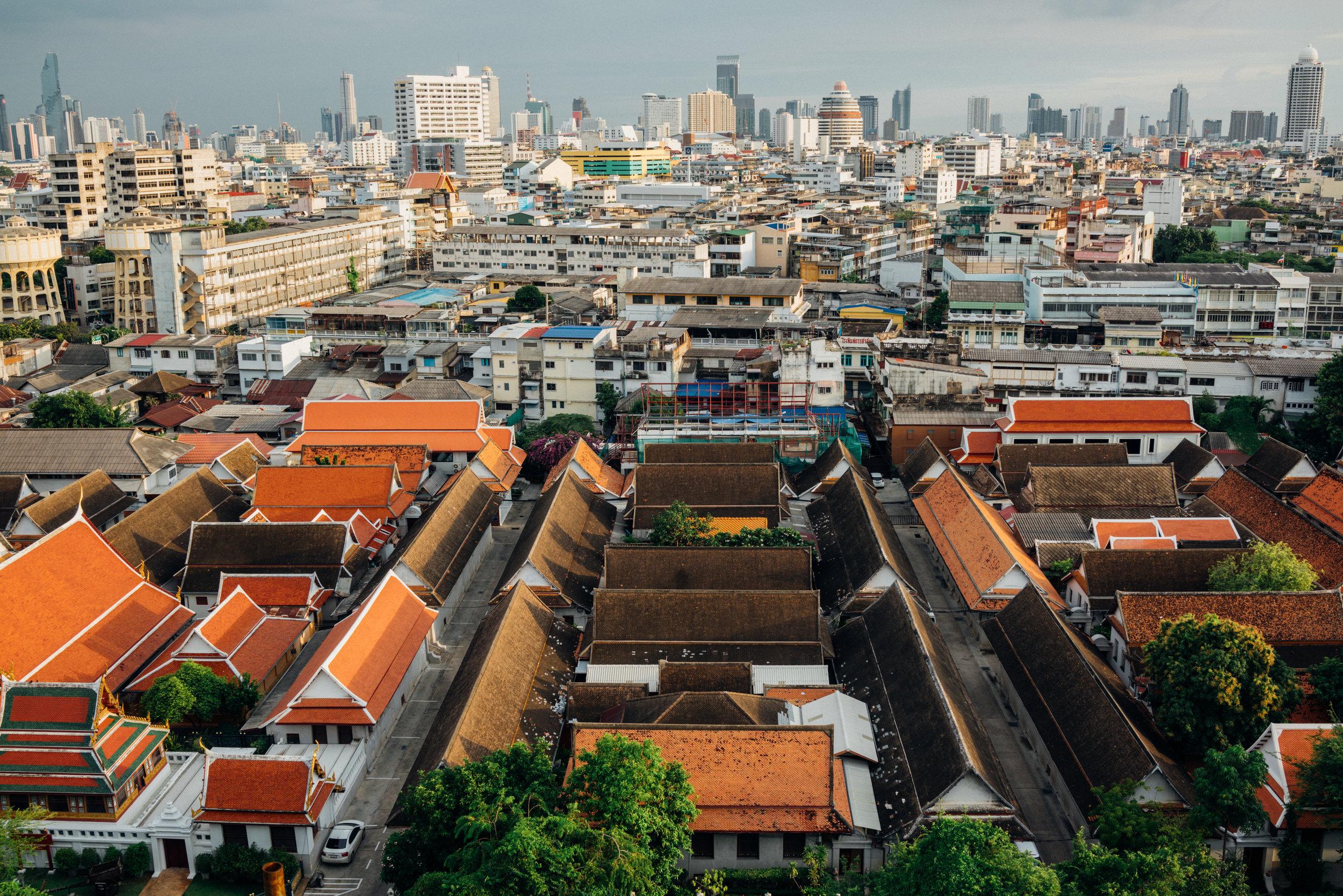 The view of Bangkok from Wat Saket