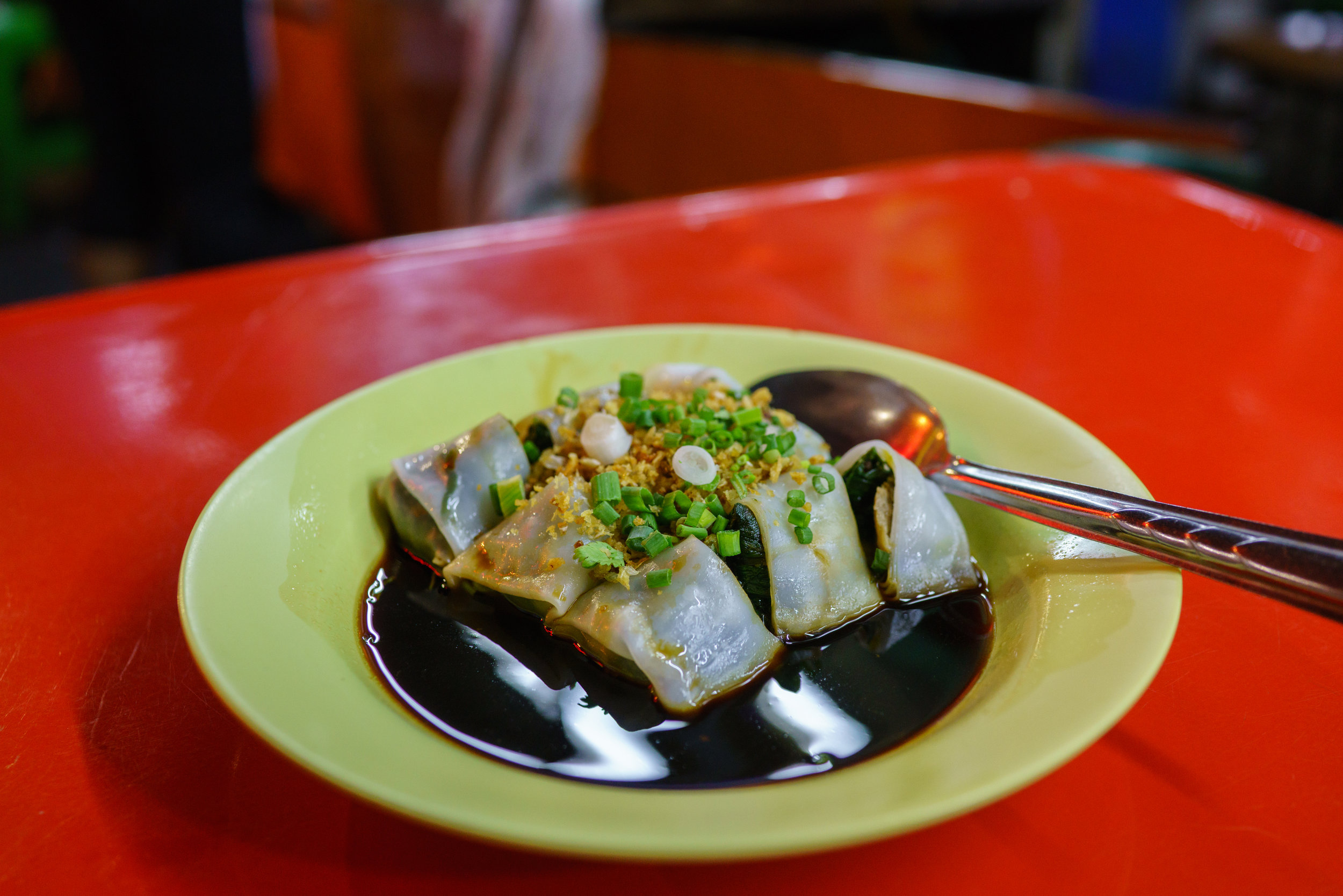 Chee cheong fun , not skimping on the sauce, in Chinatown, Bangkok