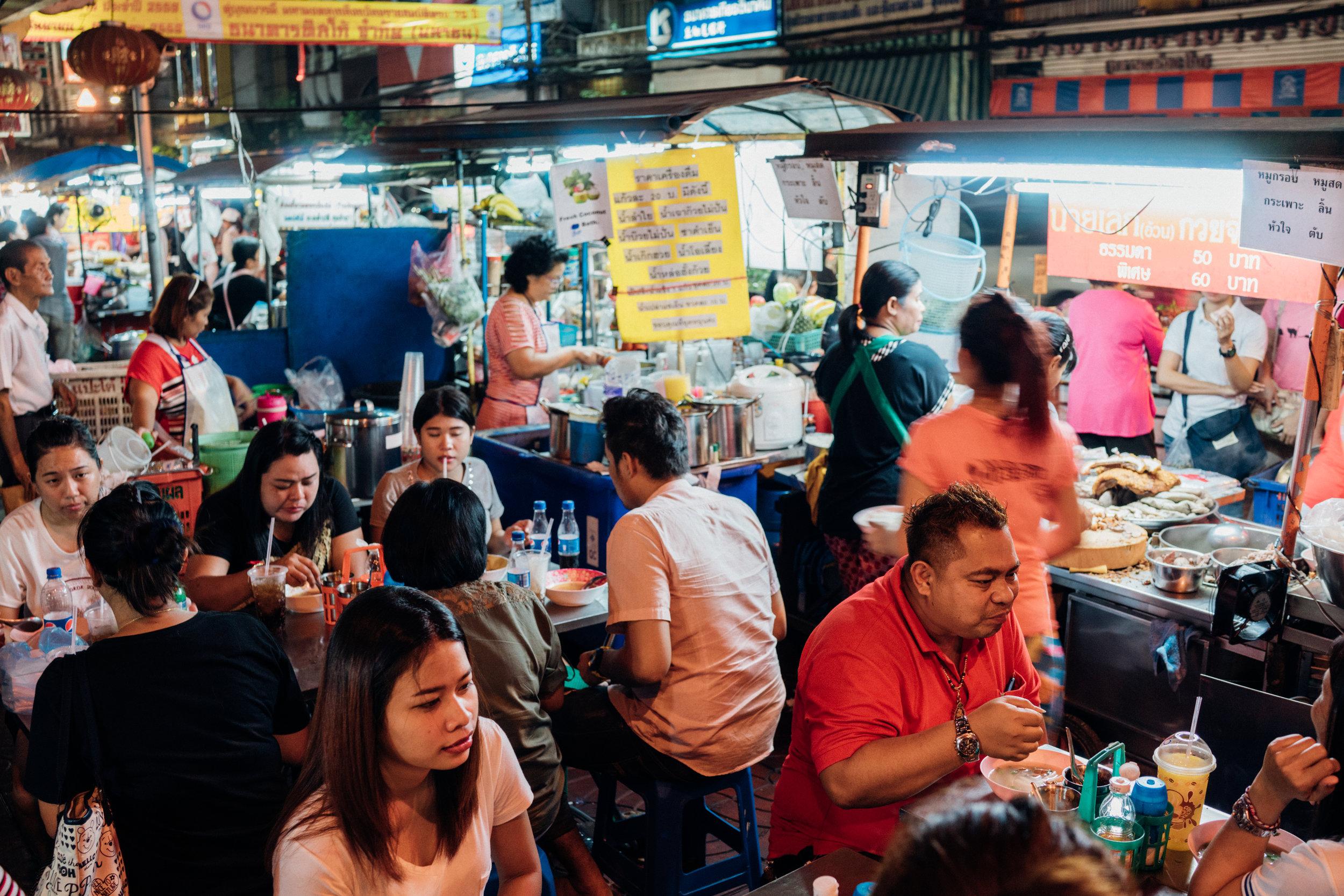 The crowd at  Kuay Jab Nay Lek on a Sunday night in Bangkok's Chinatown