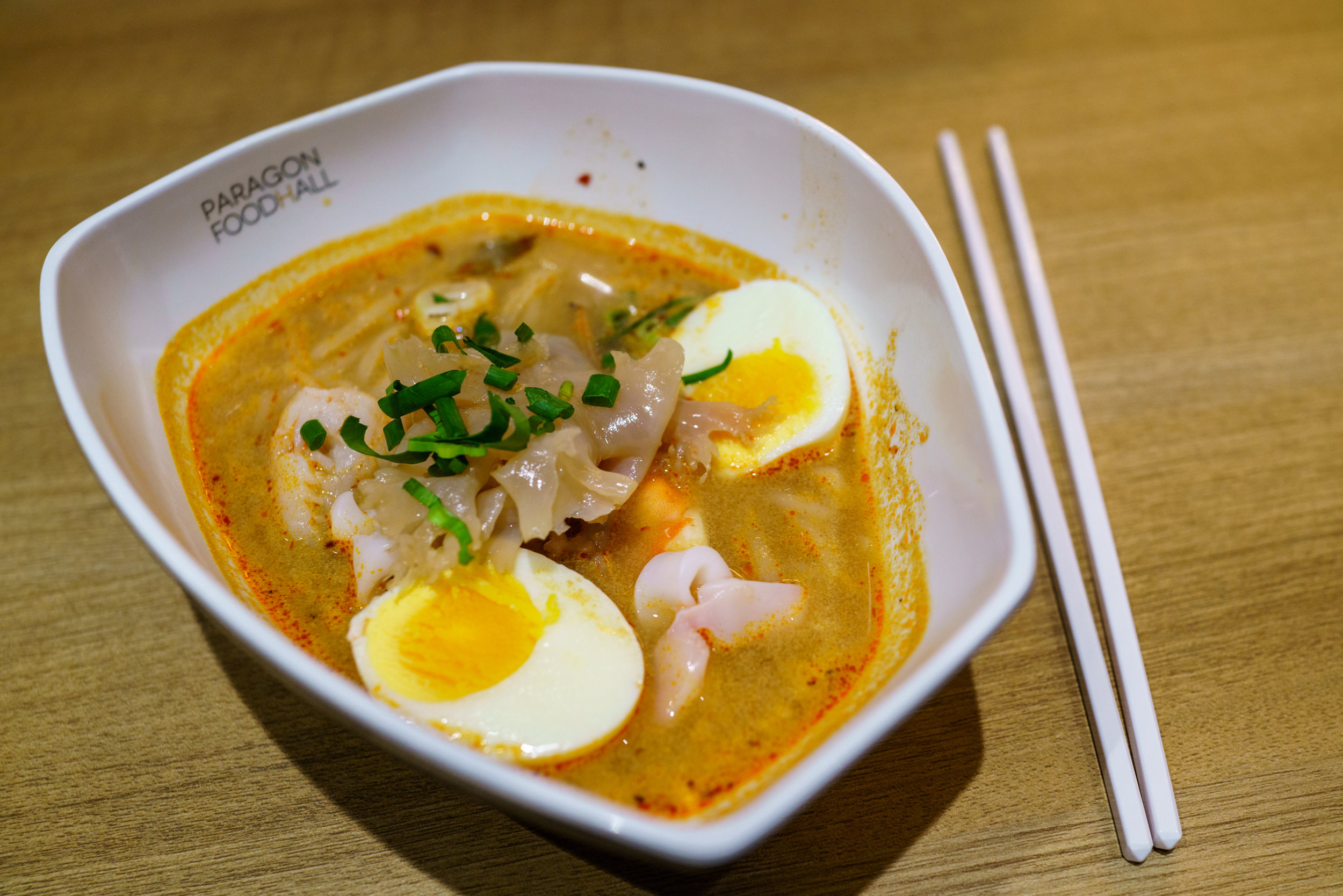 A slightly overpriced, but satisfying, bowl of  tom yum talay at Siam Paragon Food Court