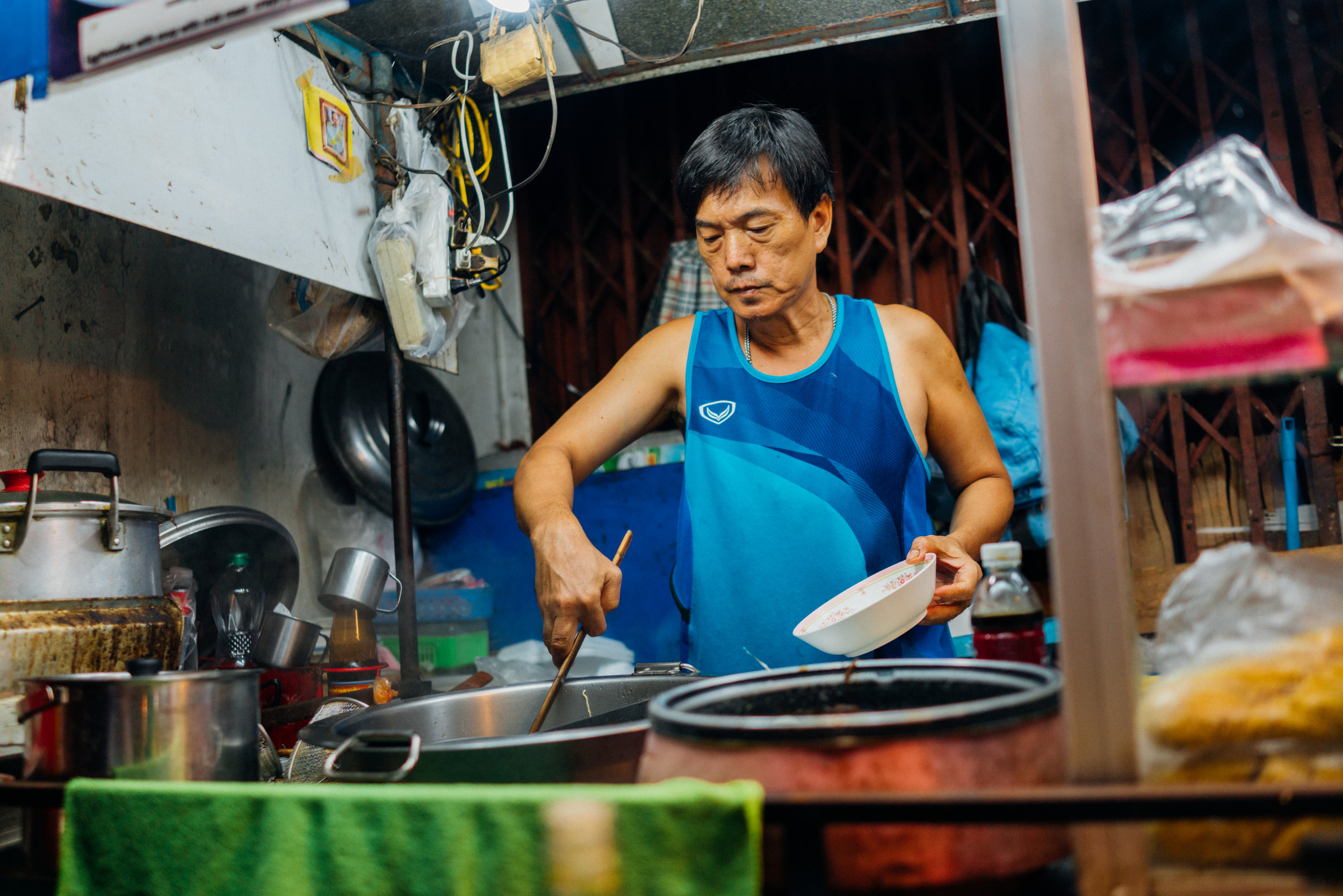 One of the last remaining vendors on Soi 38, once a happening street food night market; most have been forced to move due to construction