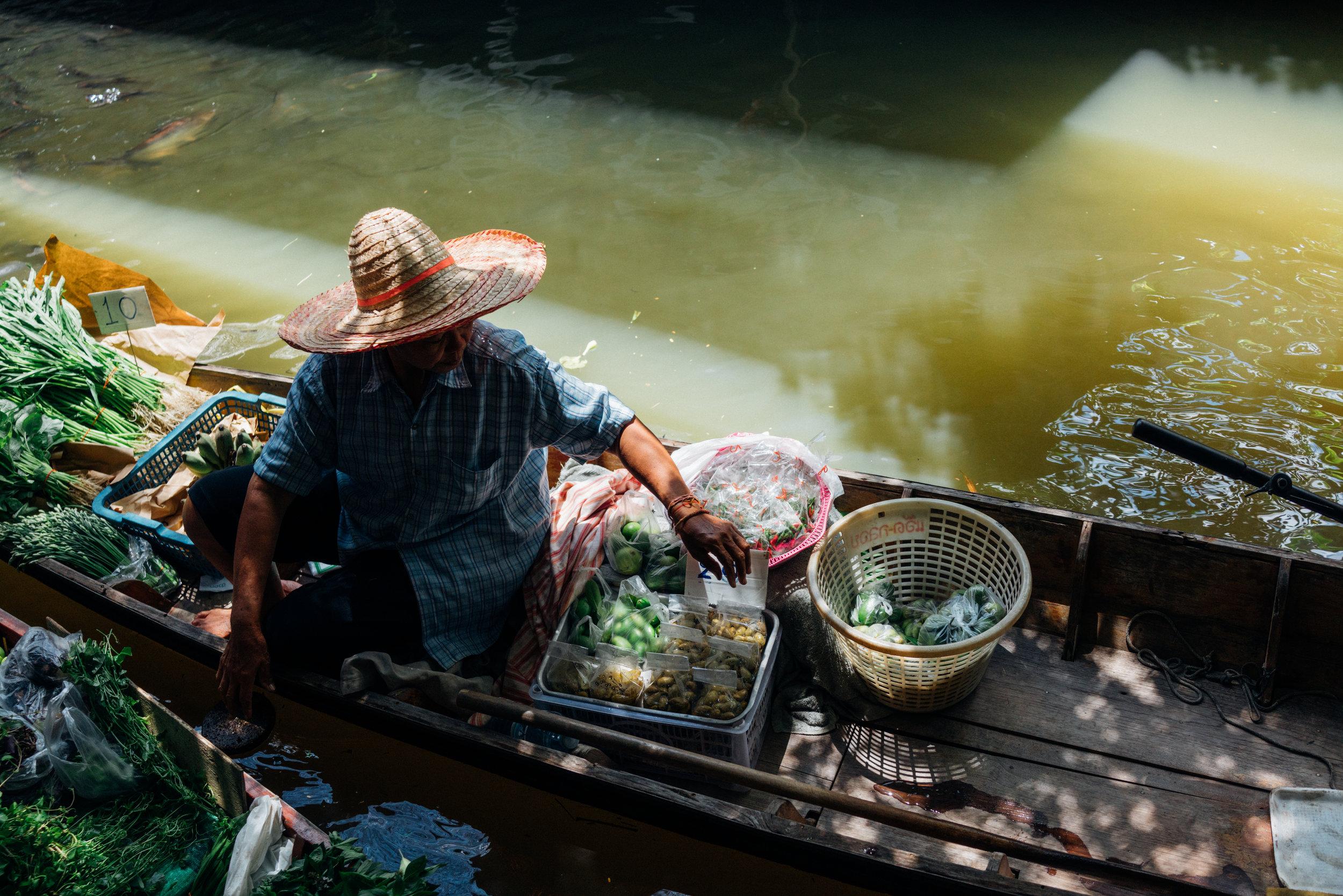One of the few floating vendors at Khlong Lat Mayom Floating Market