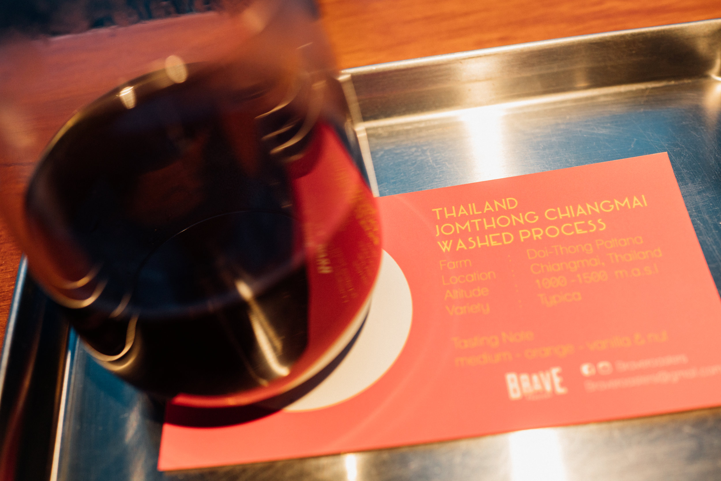 A pourover at I+D, with beans from Brave Roasters