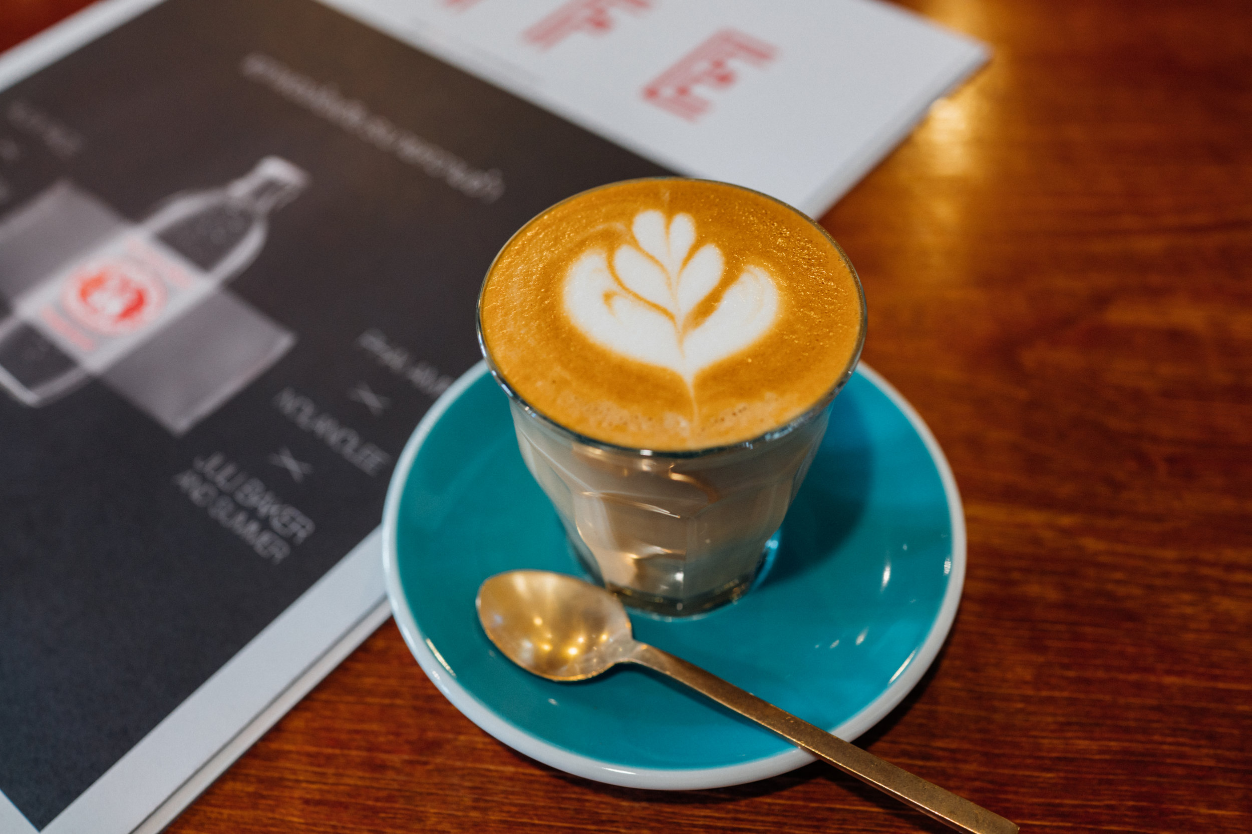 A piccolo at Ink & Lion cafe in Bangkok