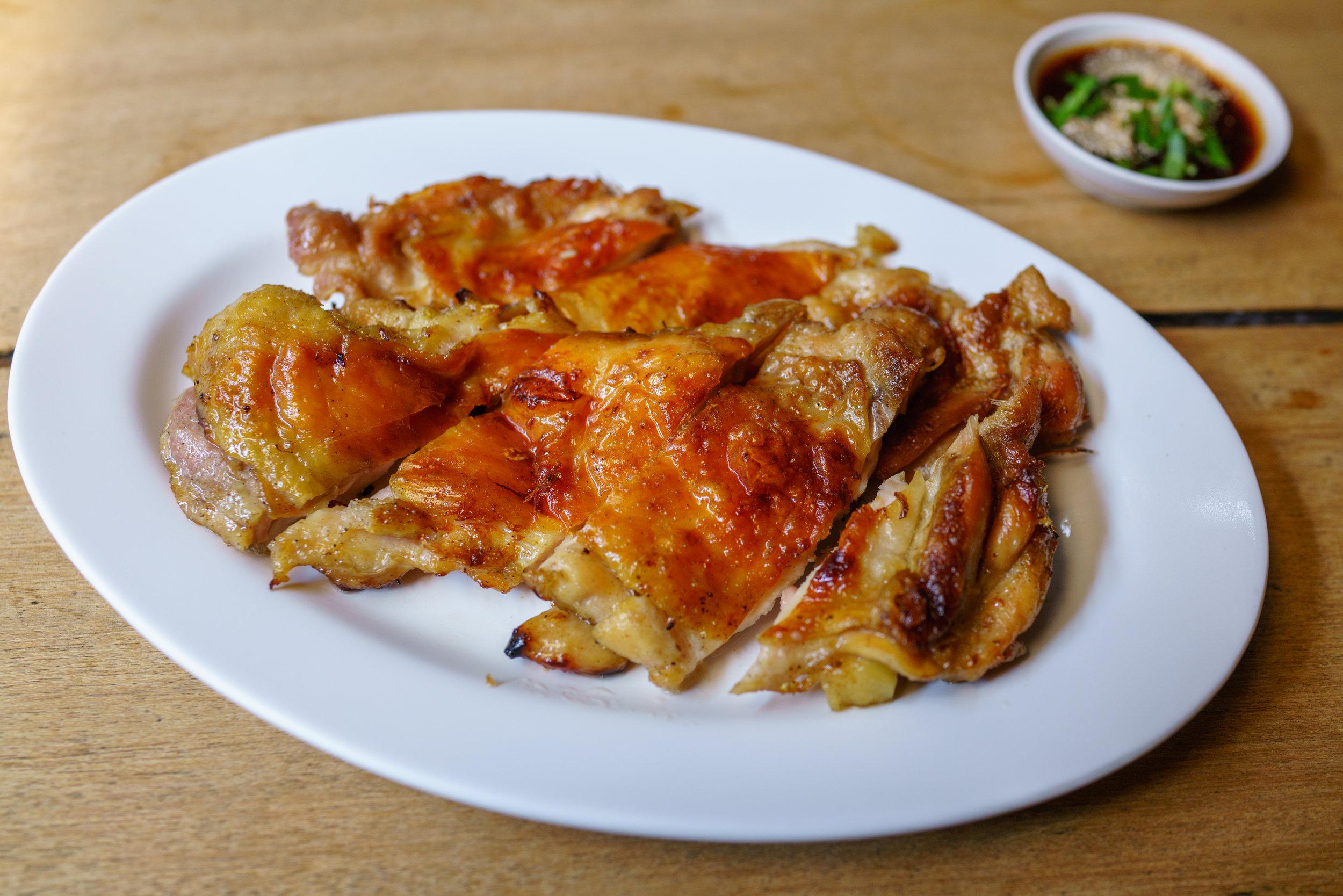Crispy chicken with tamarind dipping sauce at Cherng Doi Roast Chicken