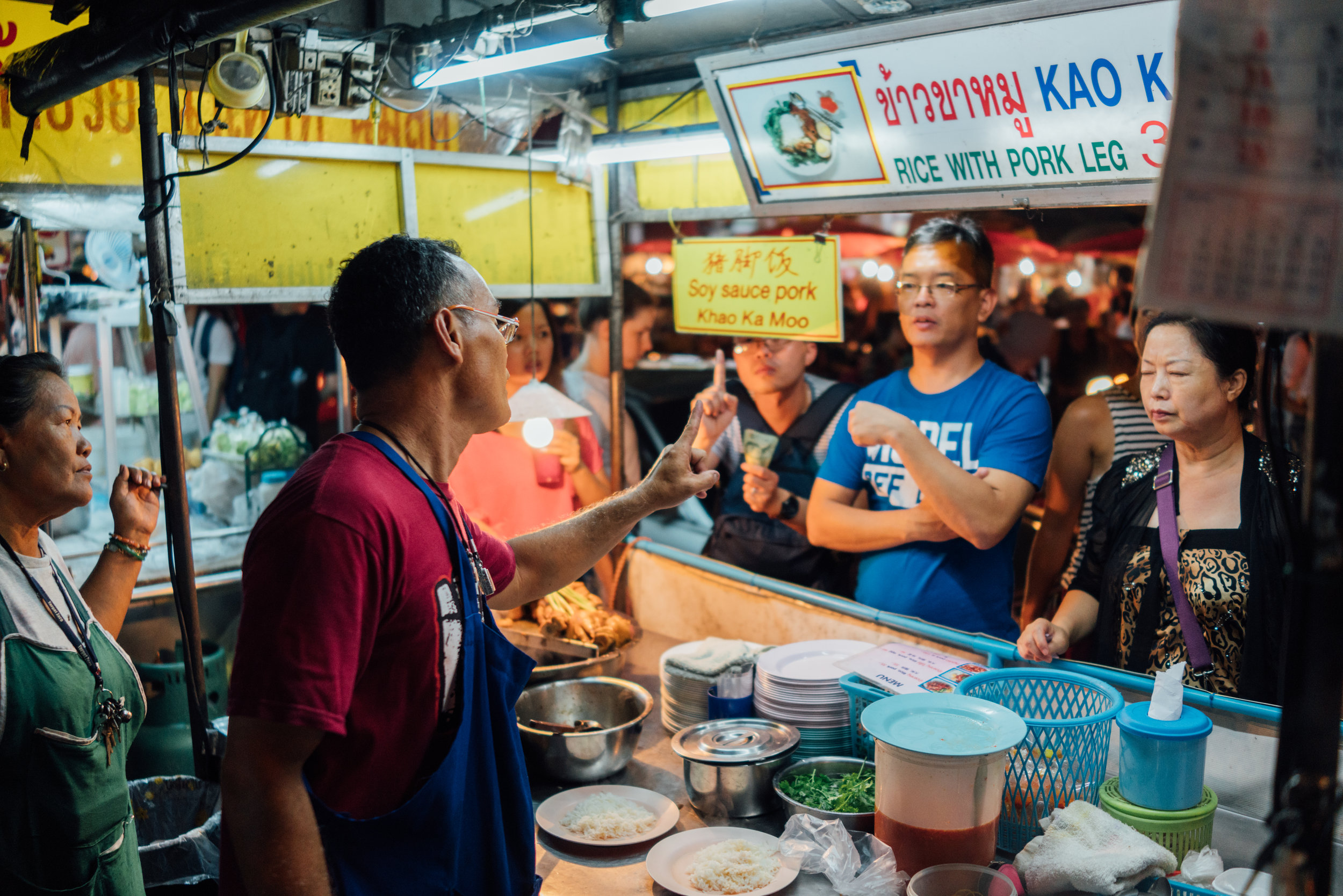 Popular  khao kha moo  stand at the Saturday Night Market