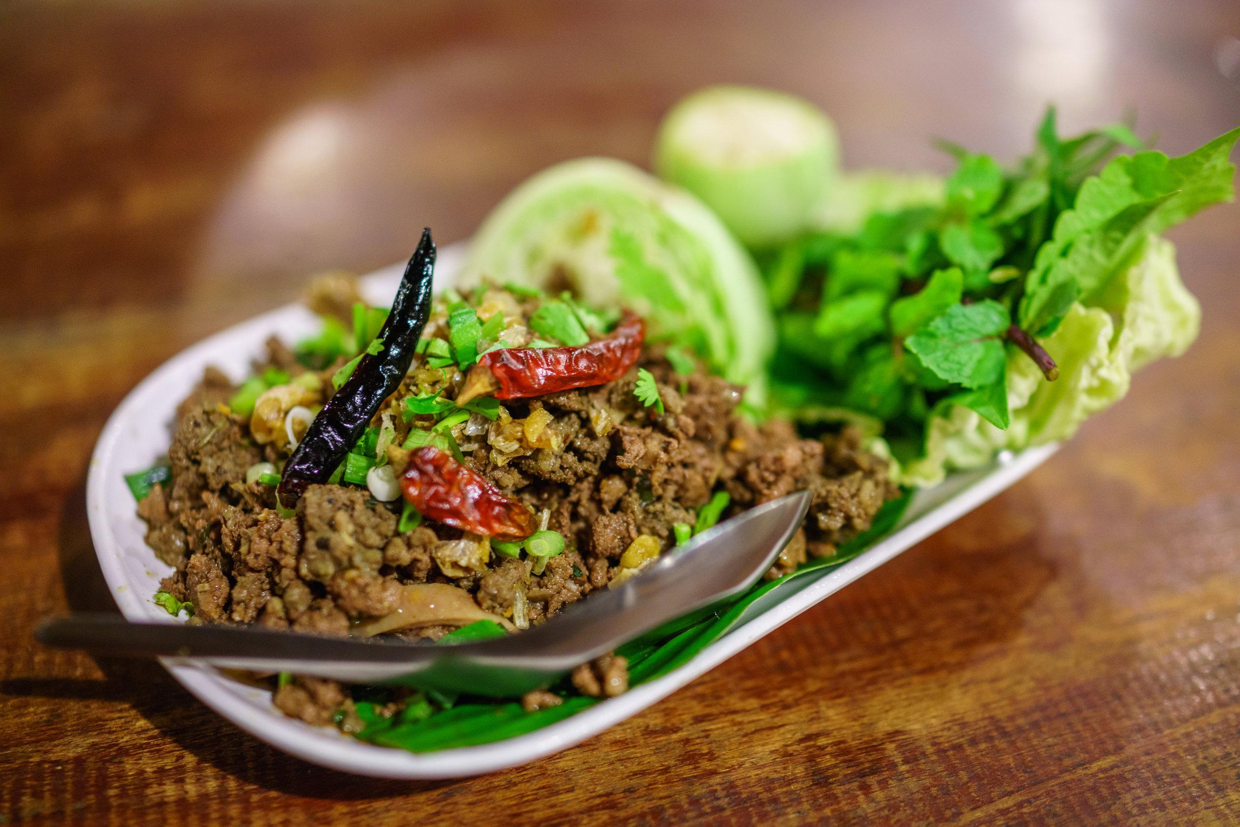 Tasty dish of  lab at Huen Muan Jai for dinner