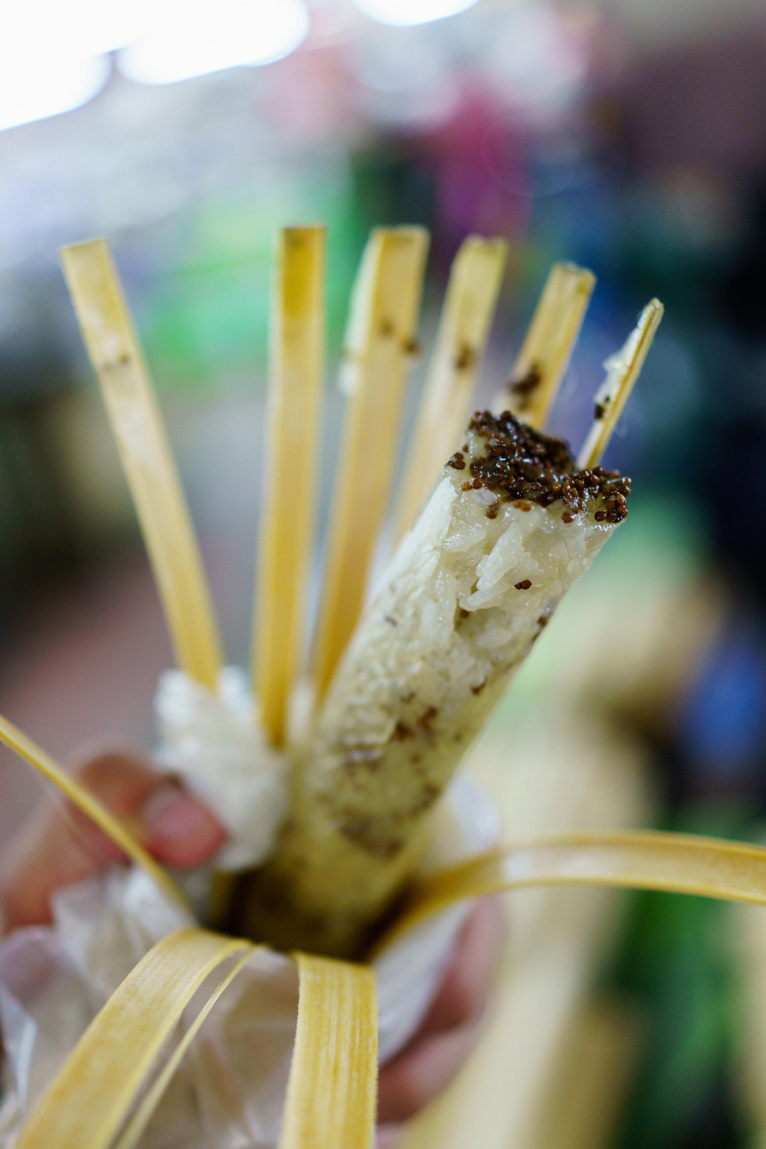 A tube of delicious sesame  khao lam