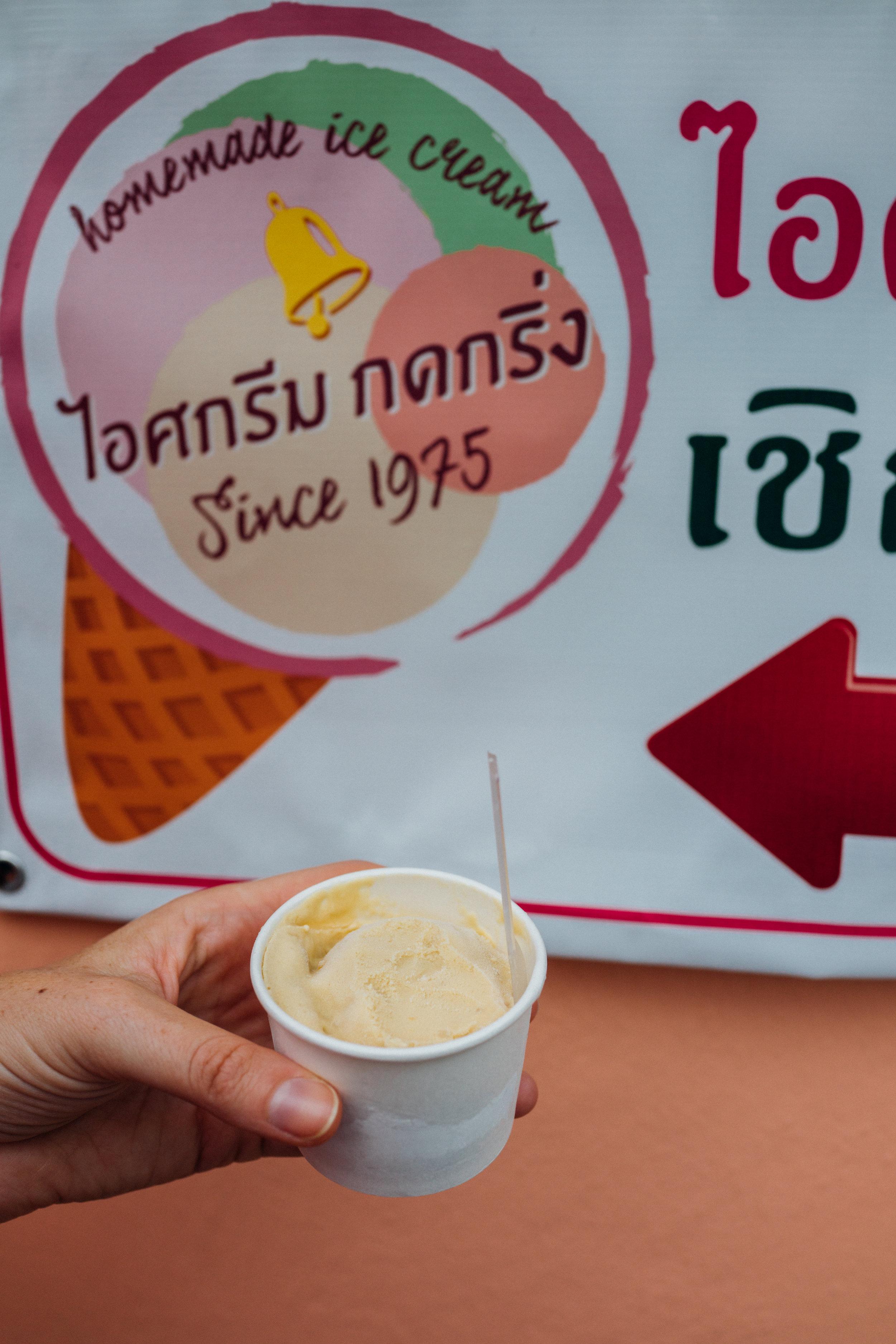 A cup of mango sticky rice ice cream