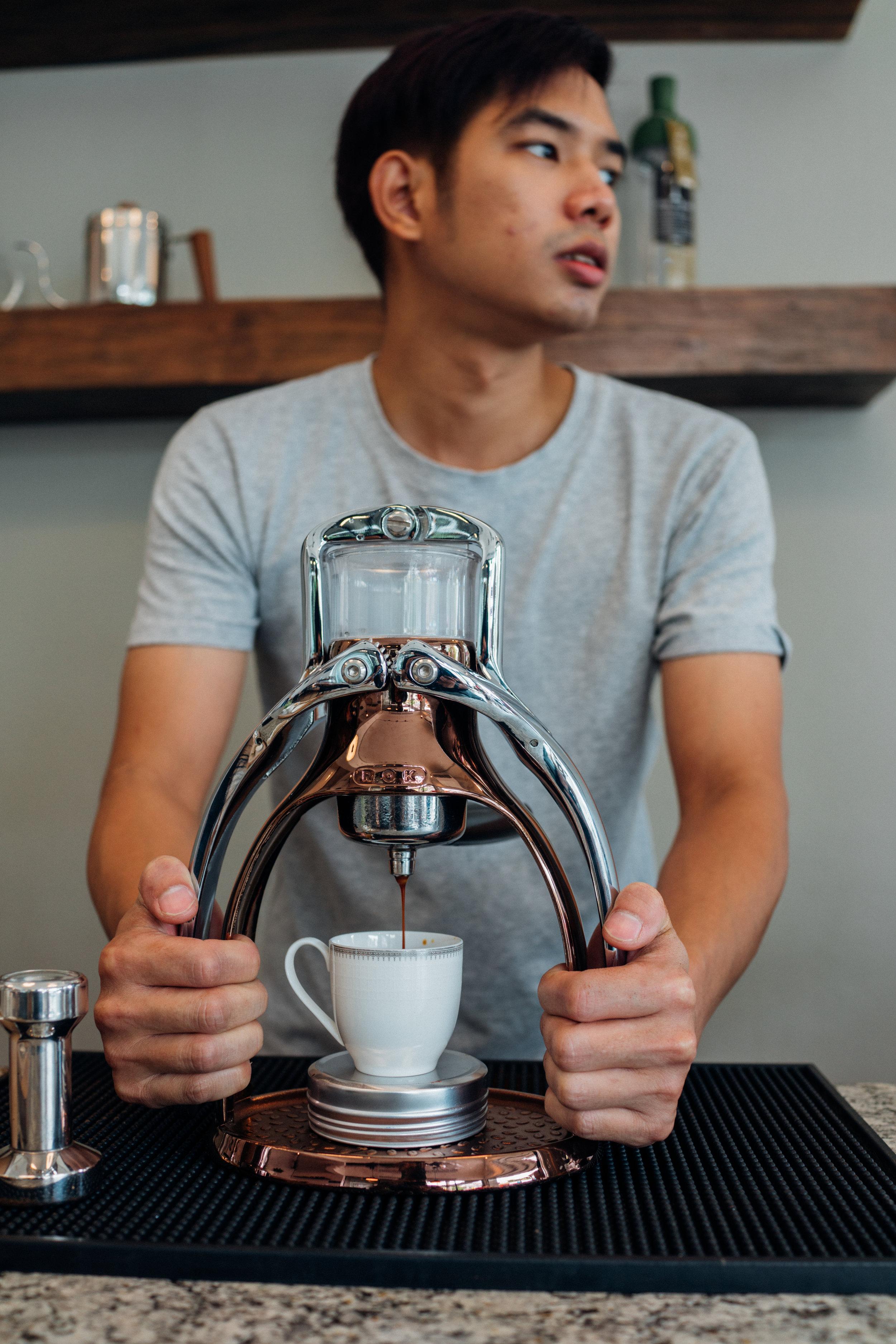 A ROK Presso to pull espresso shots