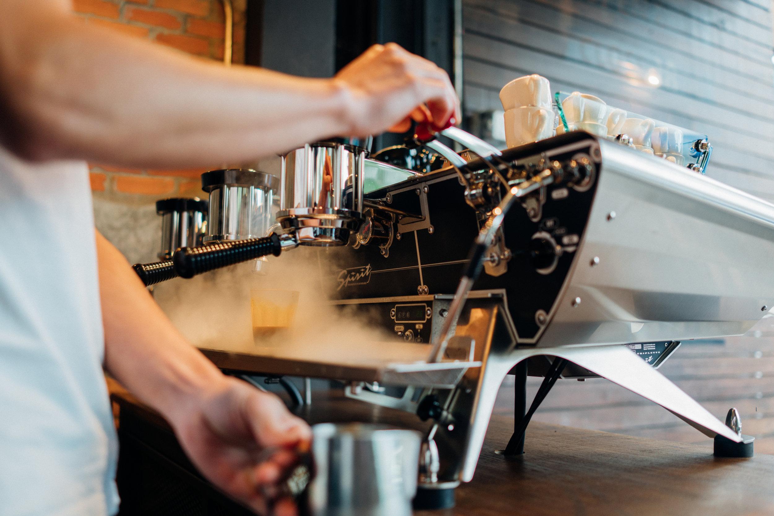 Akha Ama Coffee La Fattoria's just-arrived Spirit Triplette three-group espresso machine