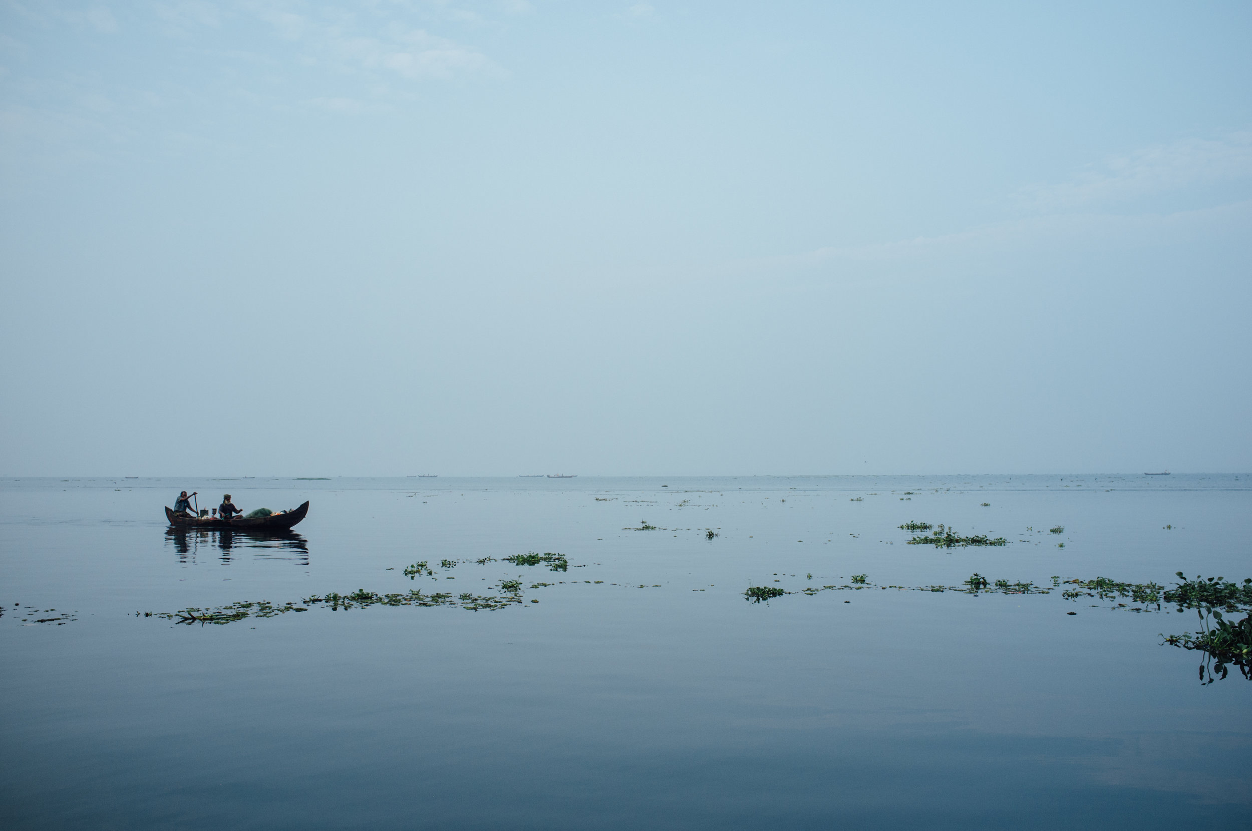 Vembanad Lake in Kerala, India