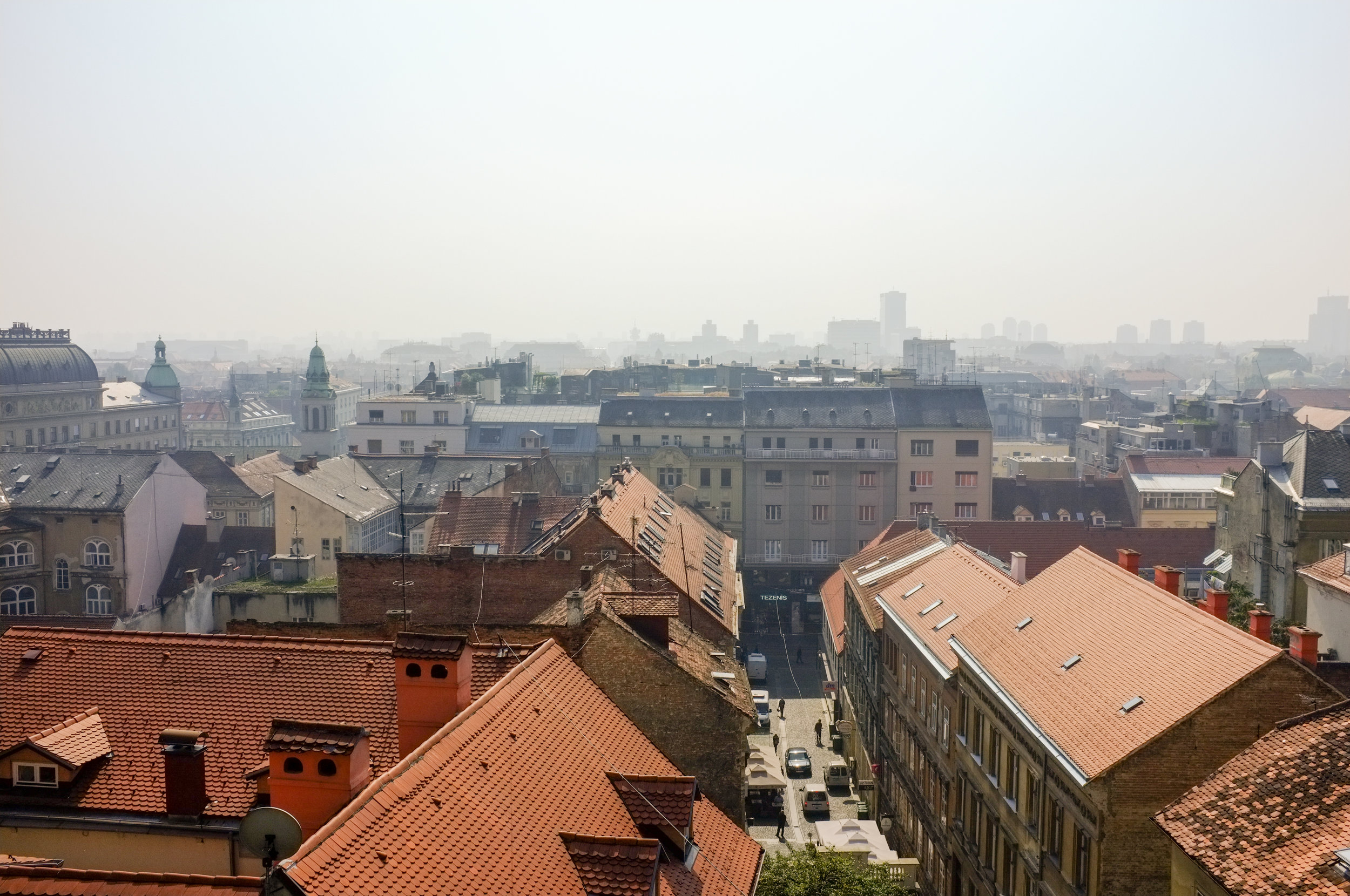 A foggy fall morning in Zagreb. View from Gornji Grad (or Upper Town).