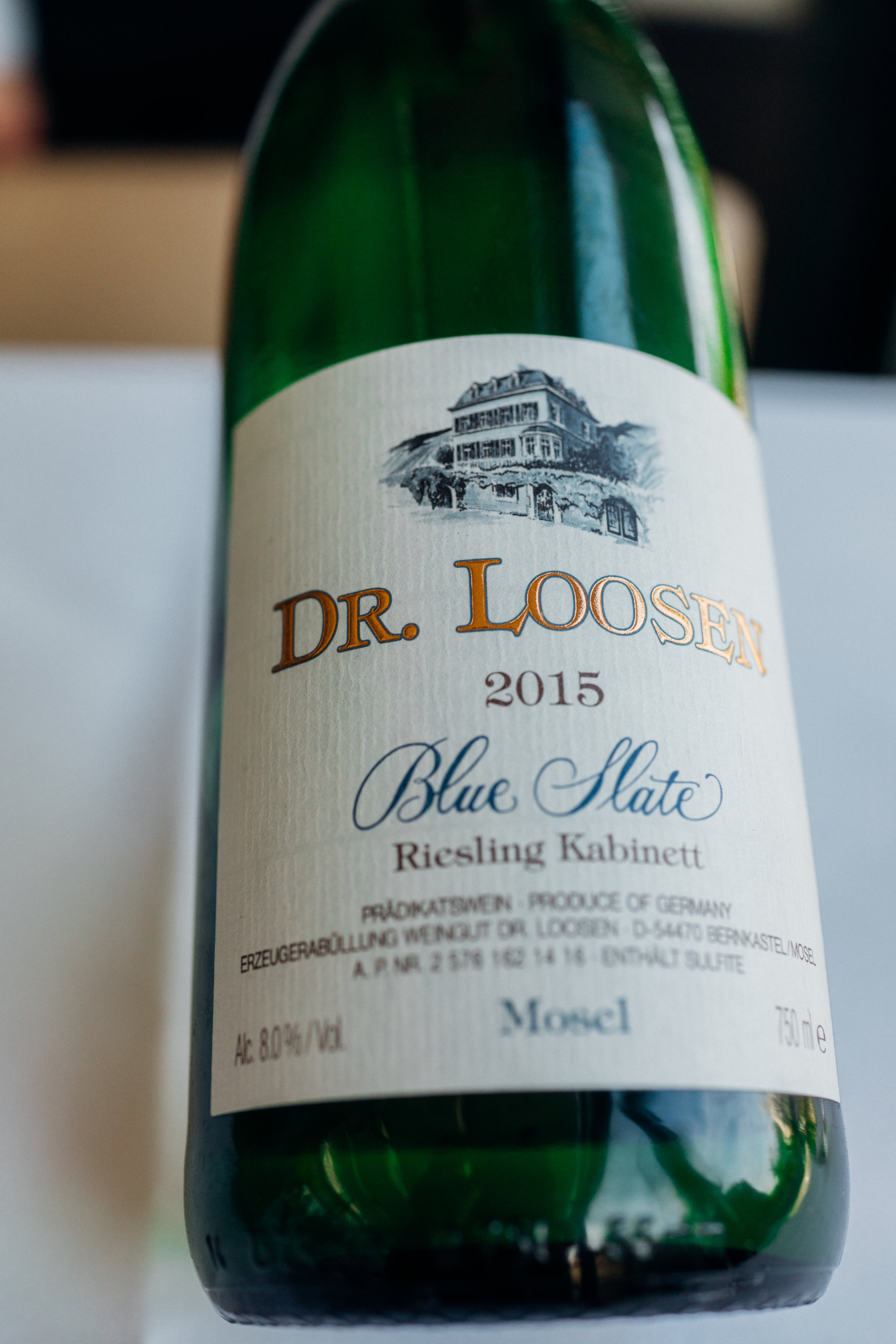 2015 Dr. Loosen Blue Slate Riesling, to pair with the foie gras