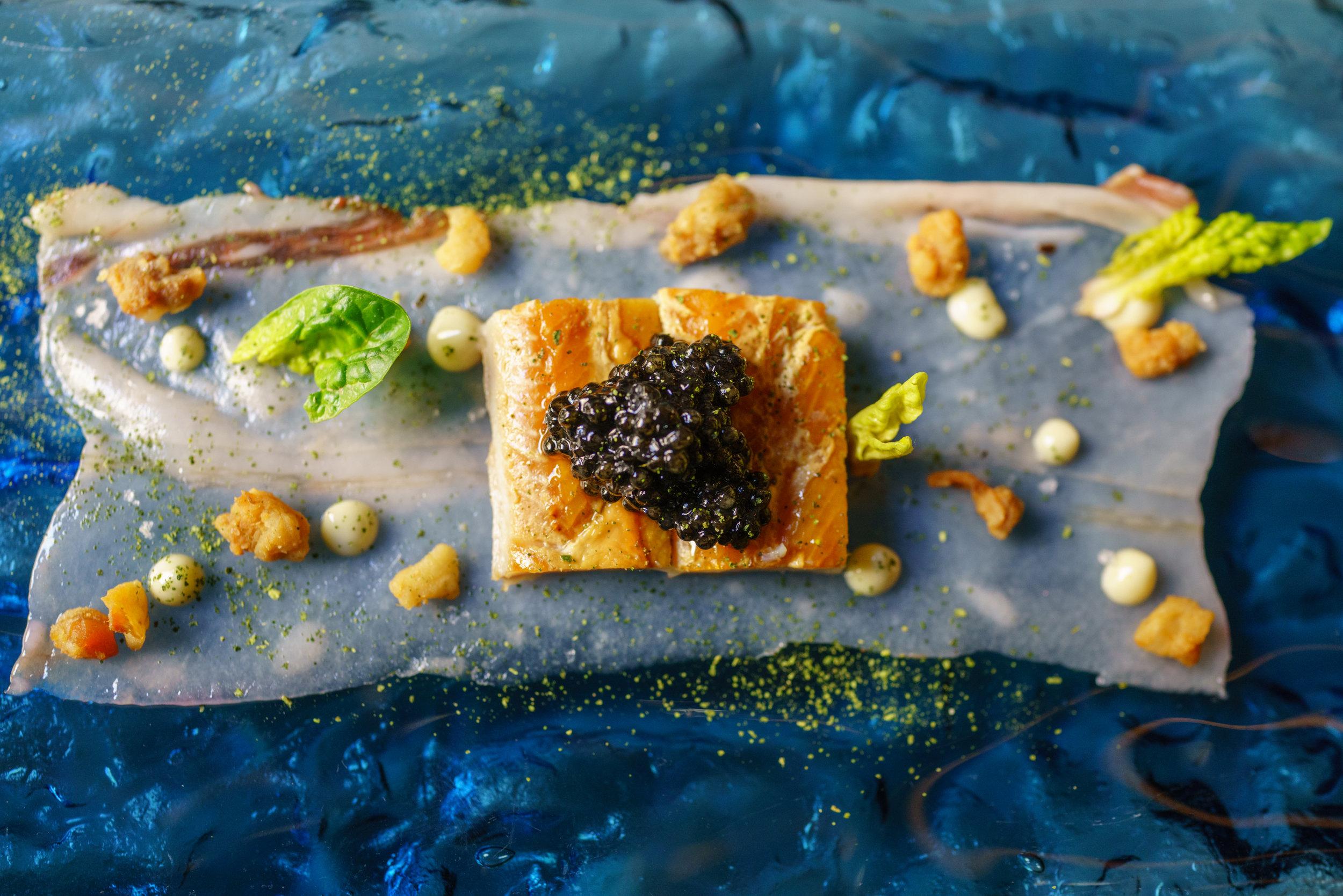 Marinated salmon, Pork skin, Green apple, Amaranth