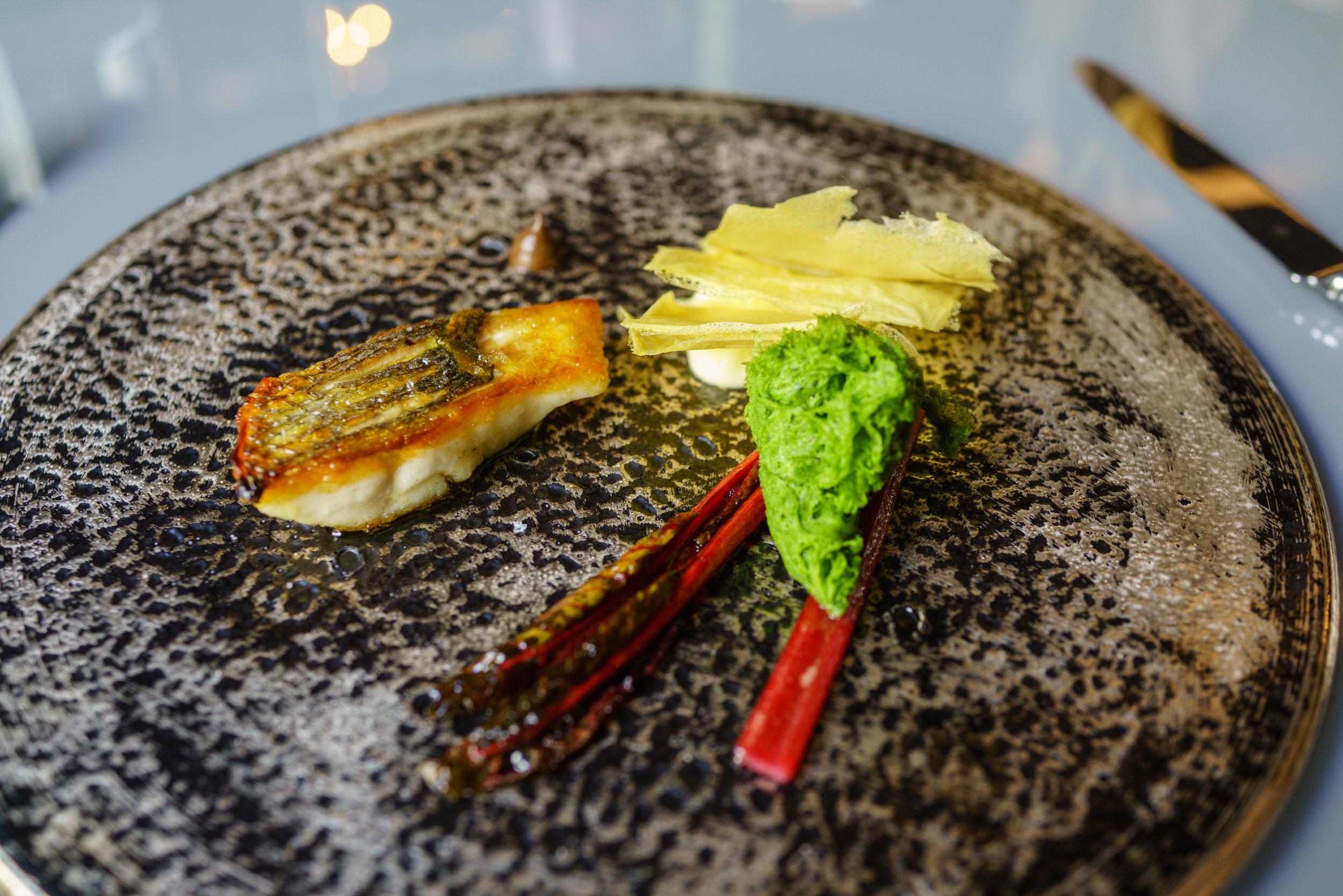 White fish Sous Vide, Potatoes, Swiss chard, Garlic
