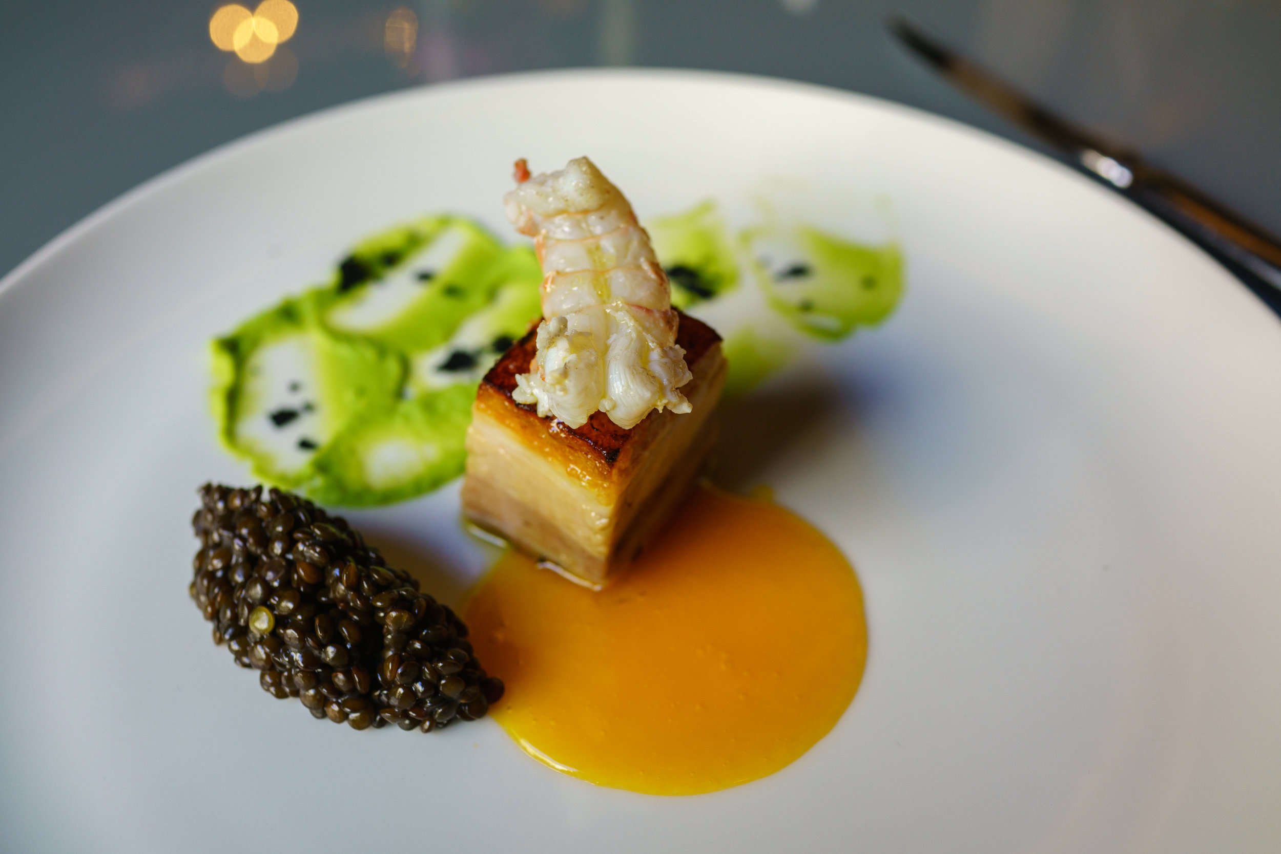 Pork belly, Shrimps, Parsley, Passion frui