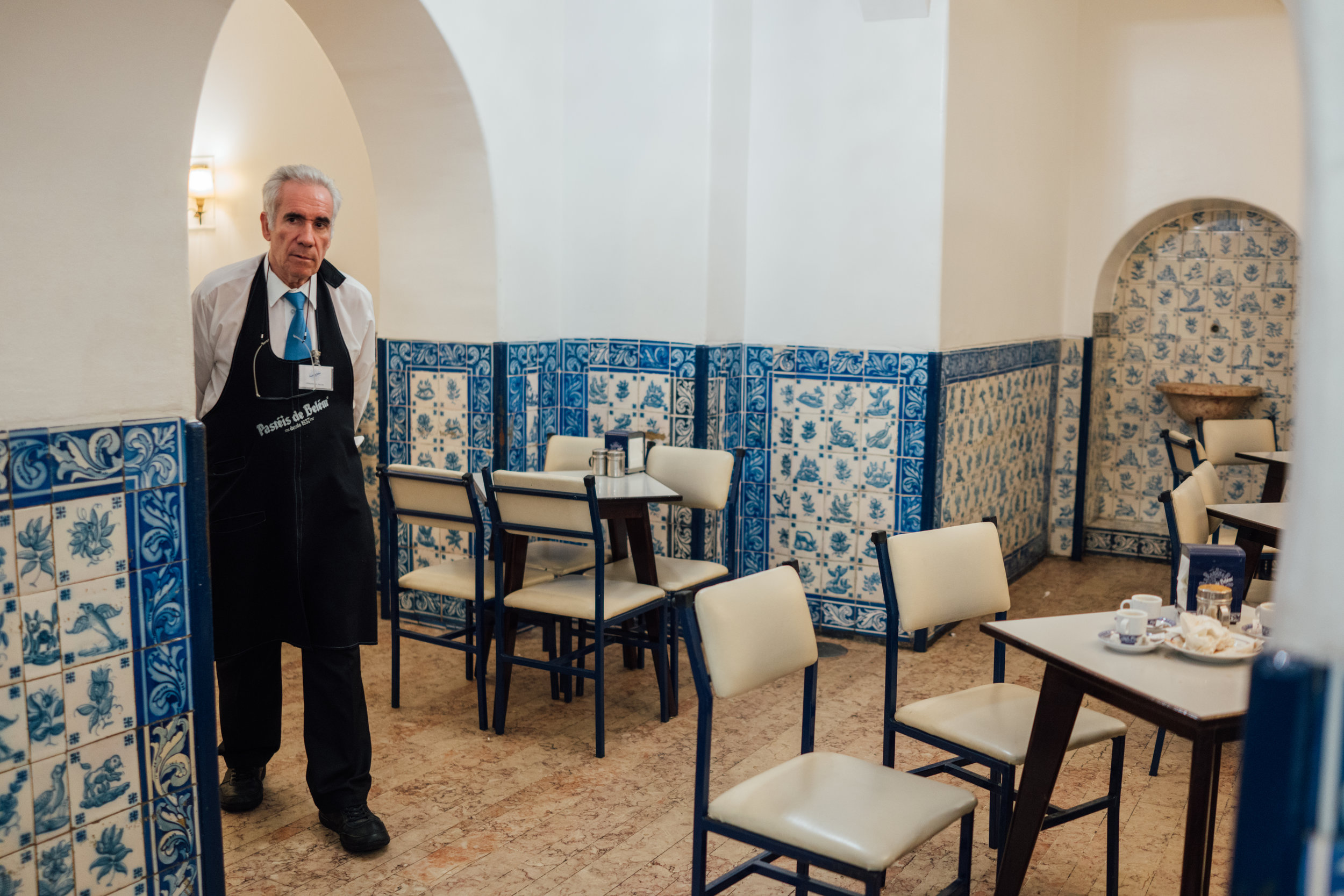 A rare quiet moment at Pastéis de Belém, near closing time