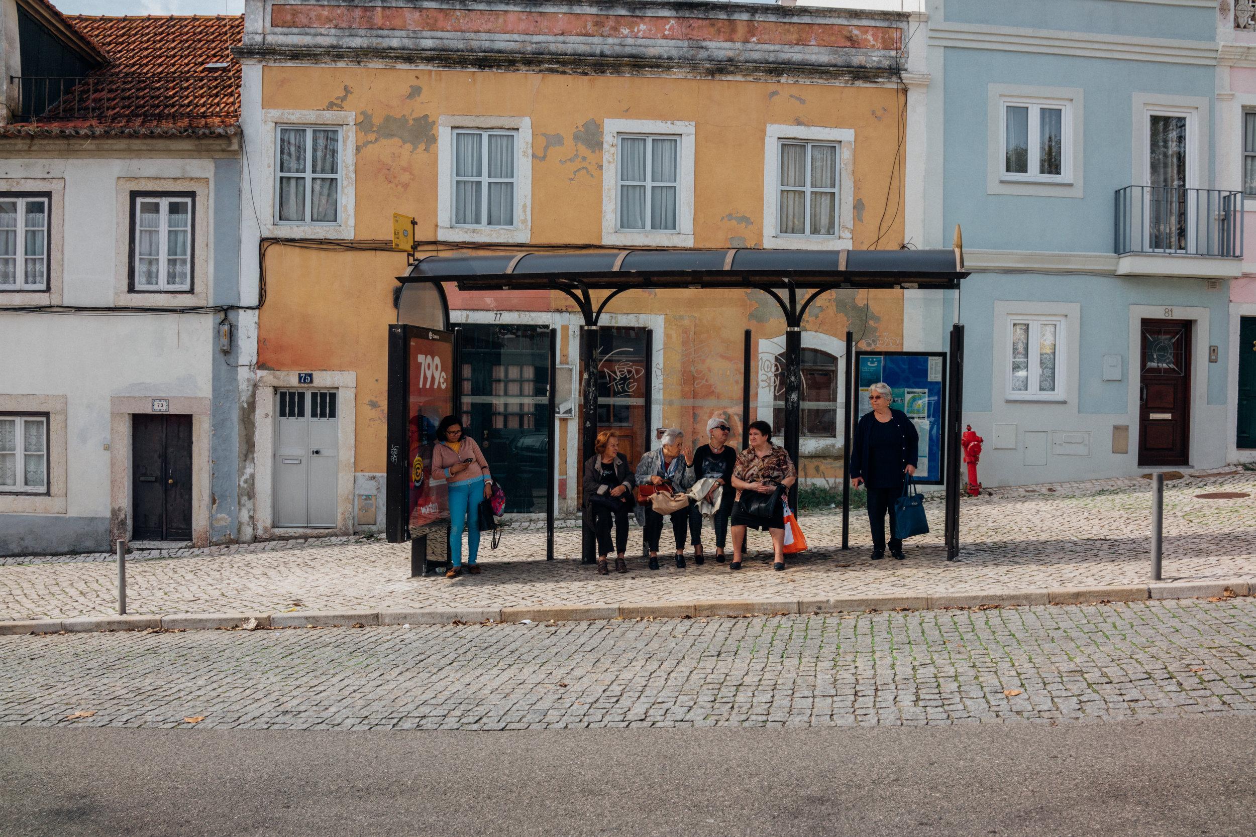 A bus stop in Belém