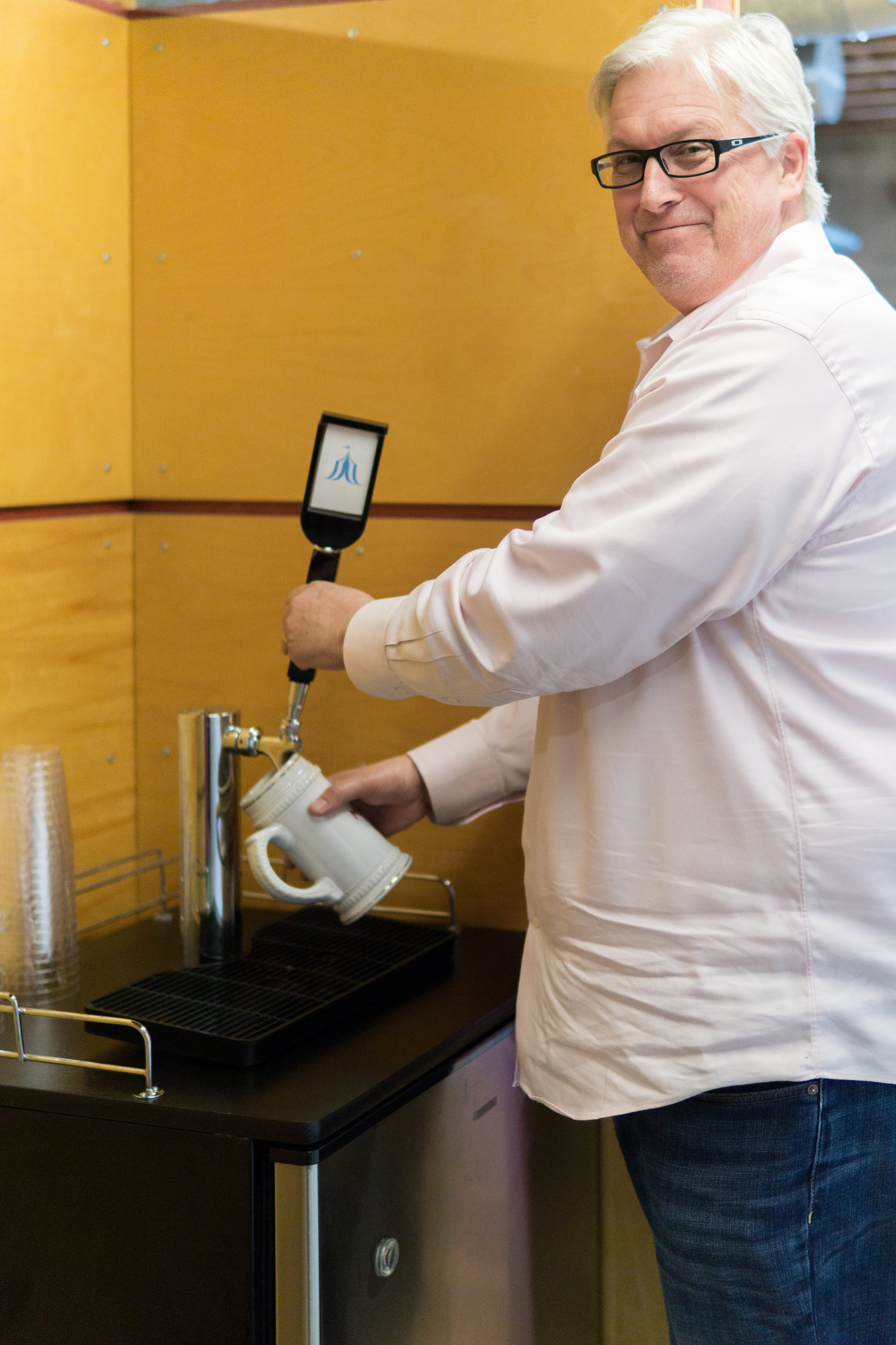 Beer on tap at the Amusement Park office