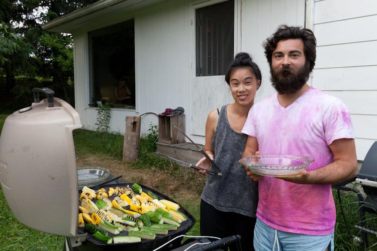 Terri and Adam, aka  Chiaozza , fire up the grill.