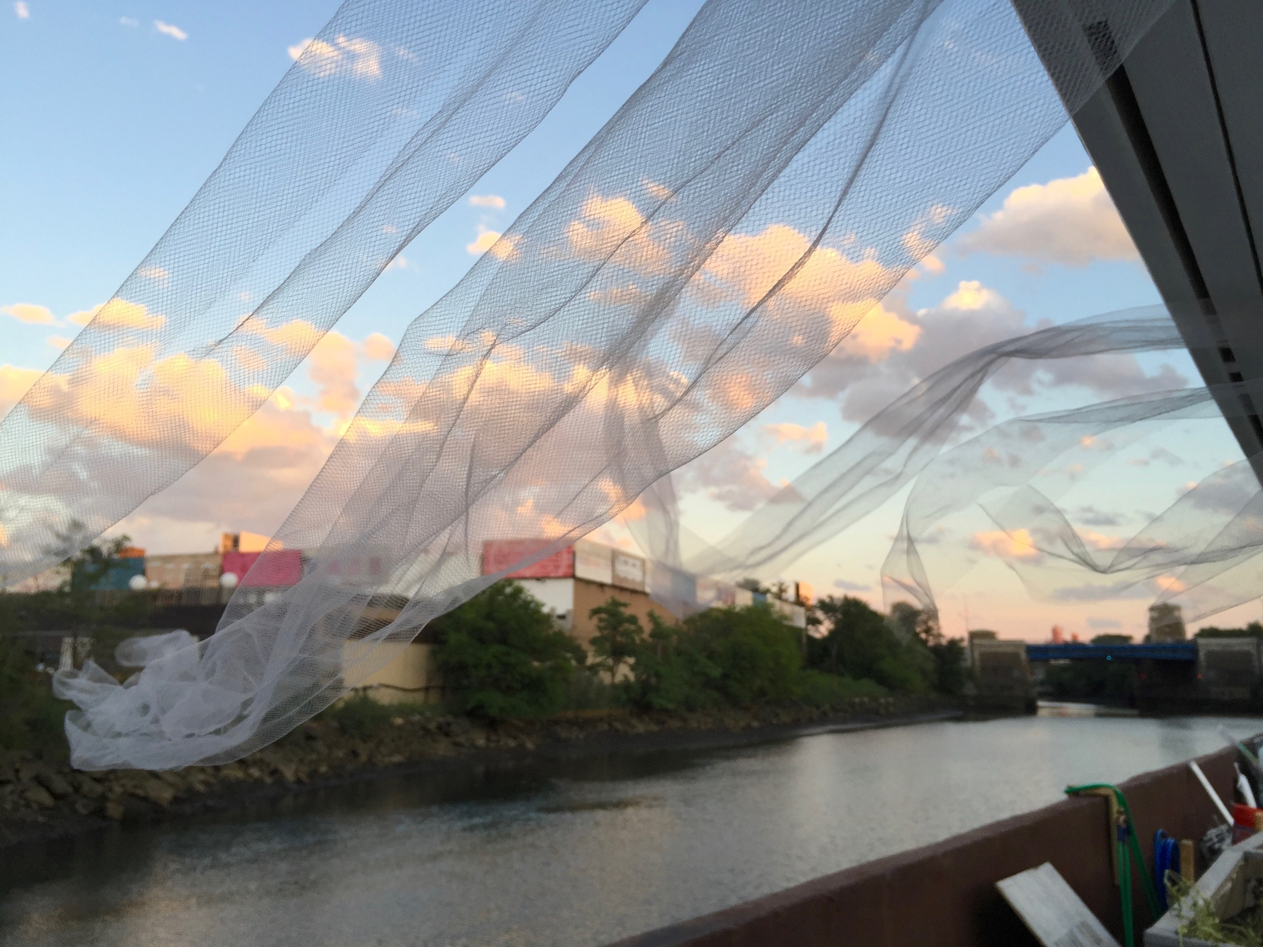 Fabric installation and the Bronx River.