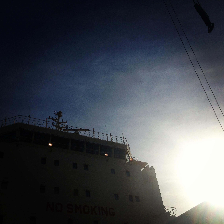a ship with a crane