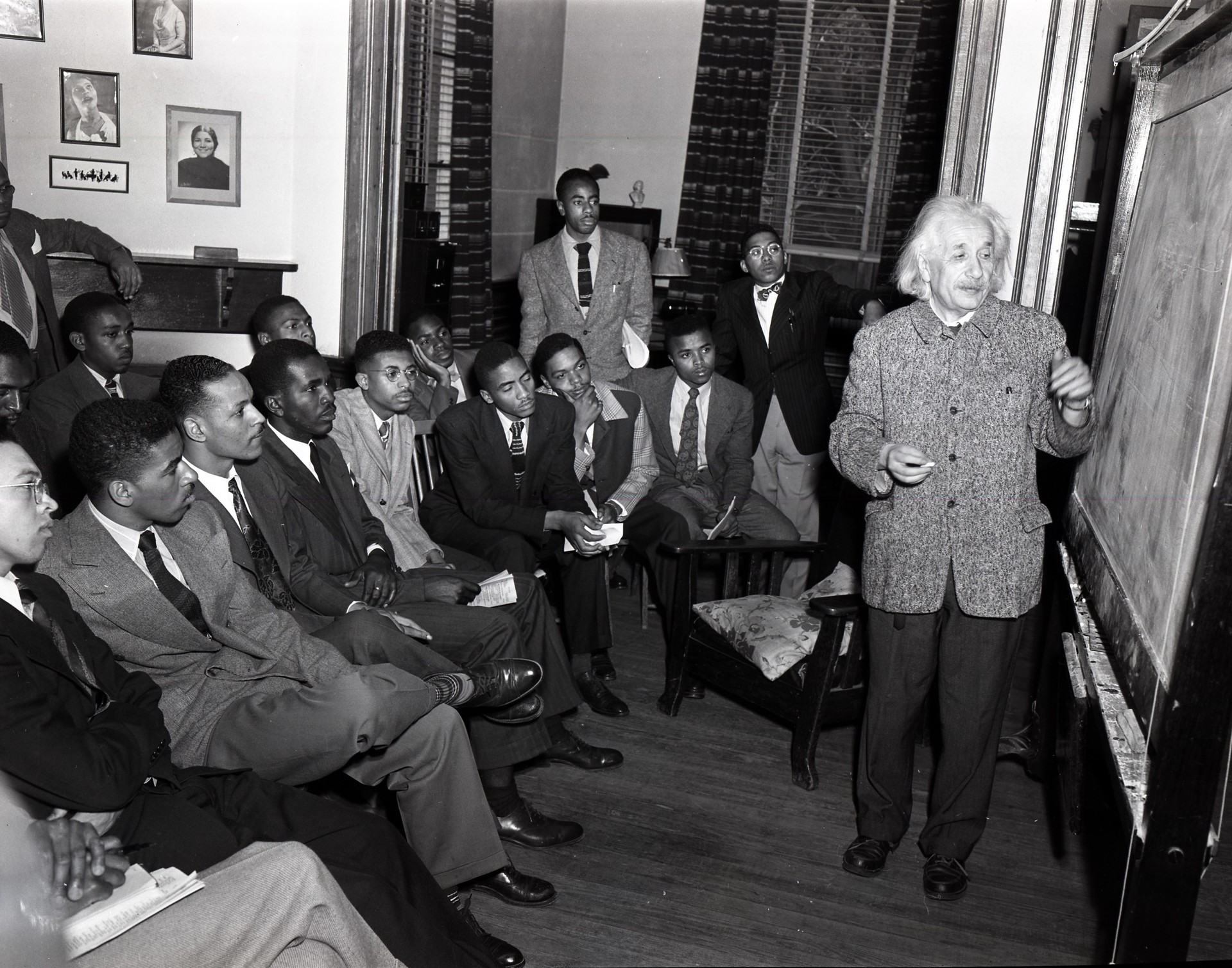 Albert Einstein and students at Lincoln University  Artist: John W. Mosley  Date: May 1946