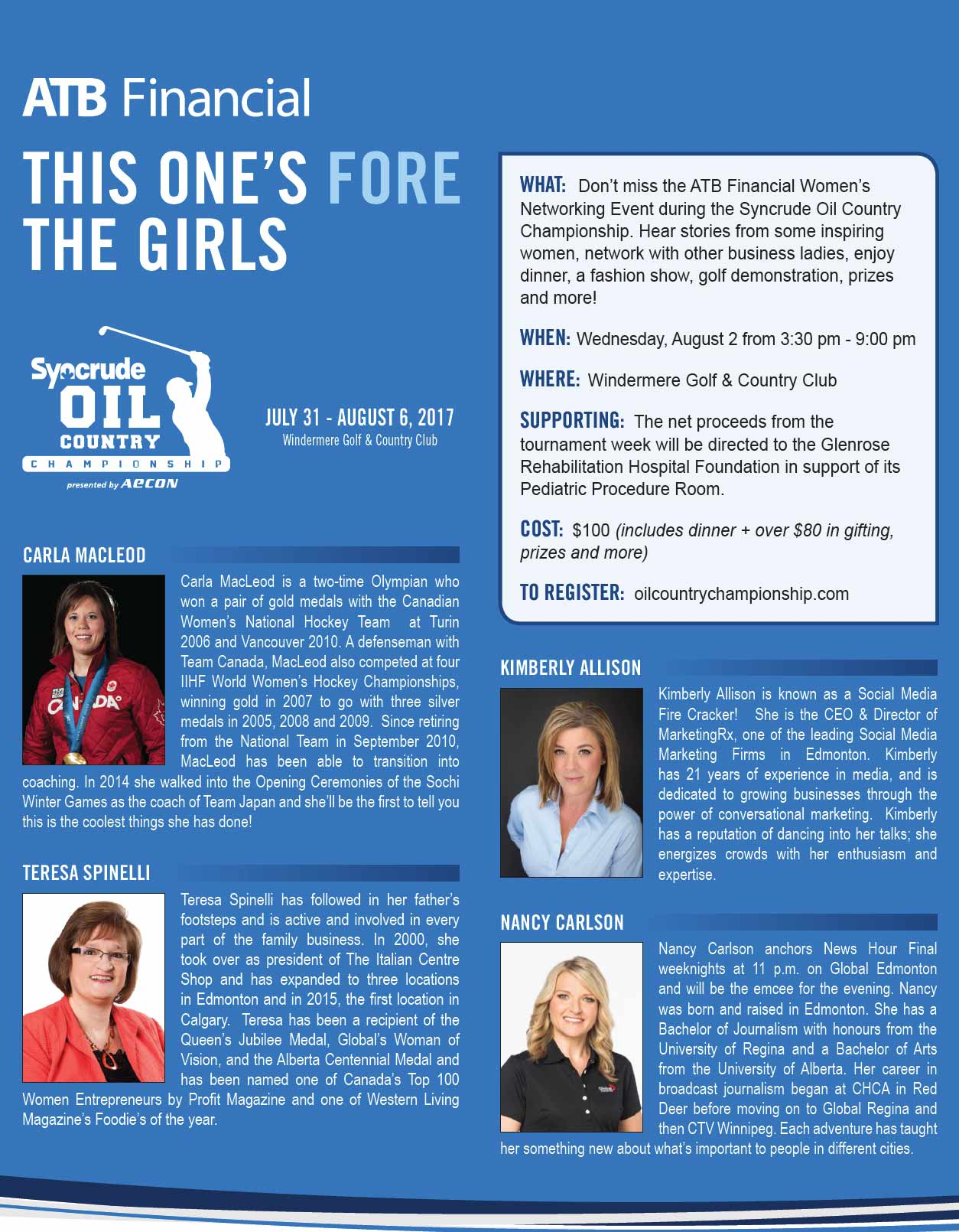 Kimberly will be speaking at this event with Carla MacLeod (two-time Olympian), Teresa Spinelli (The Italian Centre Shop president), and Nancy Carlson (Global News Anchor)