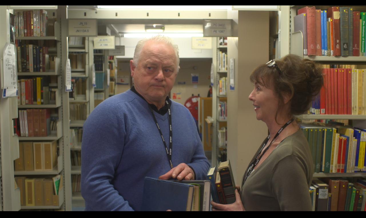 Robert Pugh as Thomas and Melanie Walters as Iris in Long Arm Films' Ex Libris.