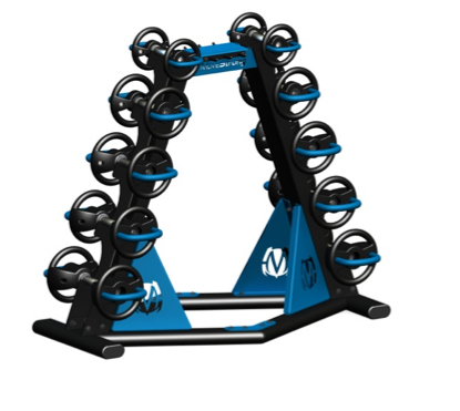 Double tier rack holds 2 sets of DynaBells. Optional top Connector plate has storage hooks for holding accessories such as resistance bands and jumps ropes. A patent pending storage rack design.