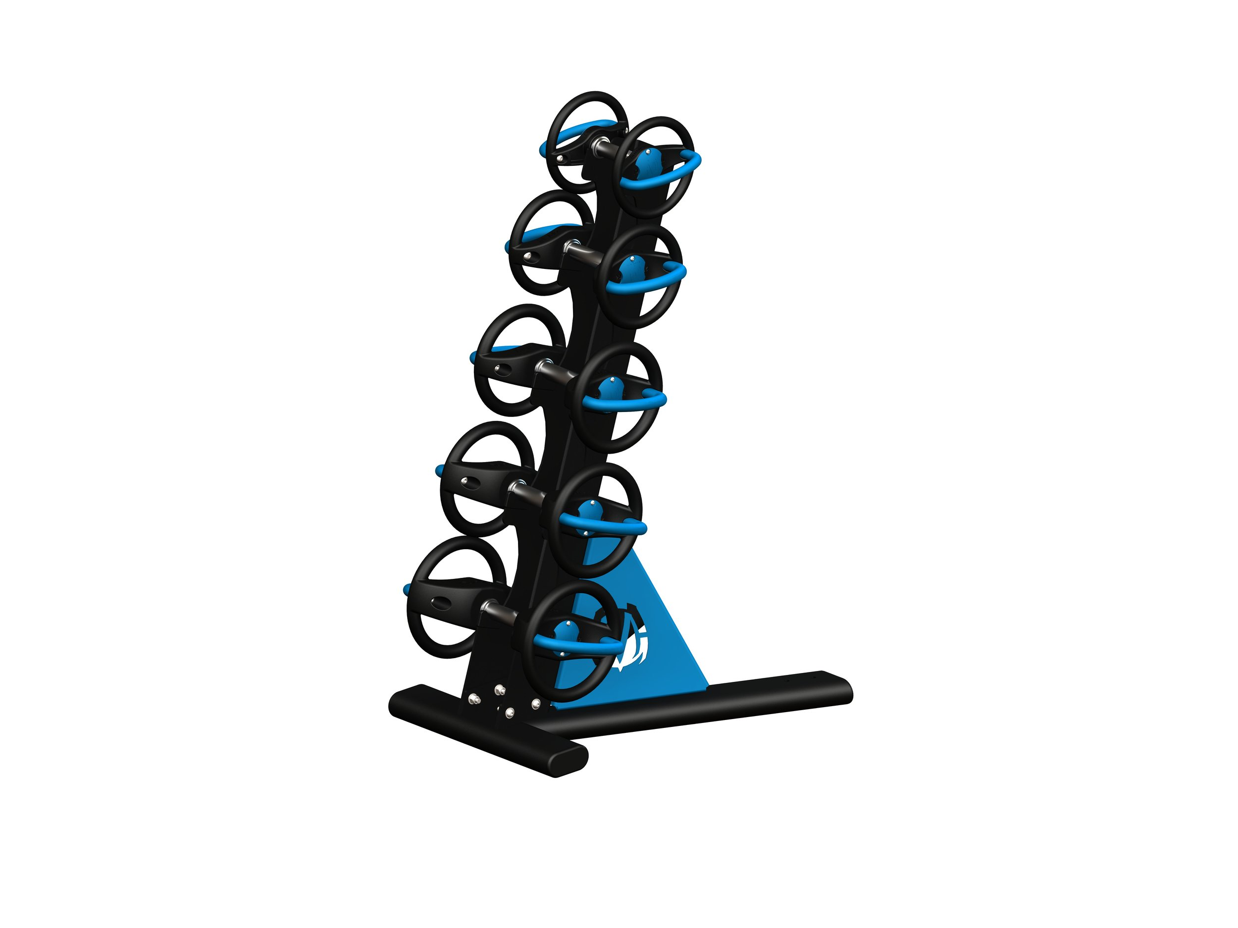 Single tier rack holds 5 DynaBells of any size.