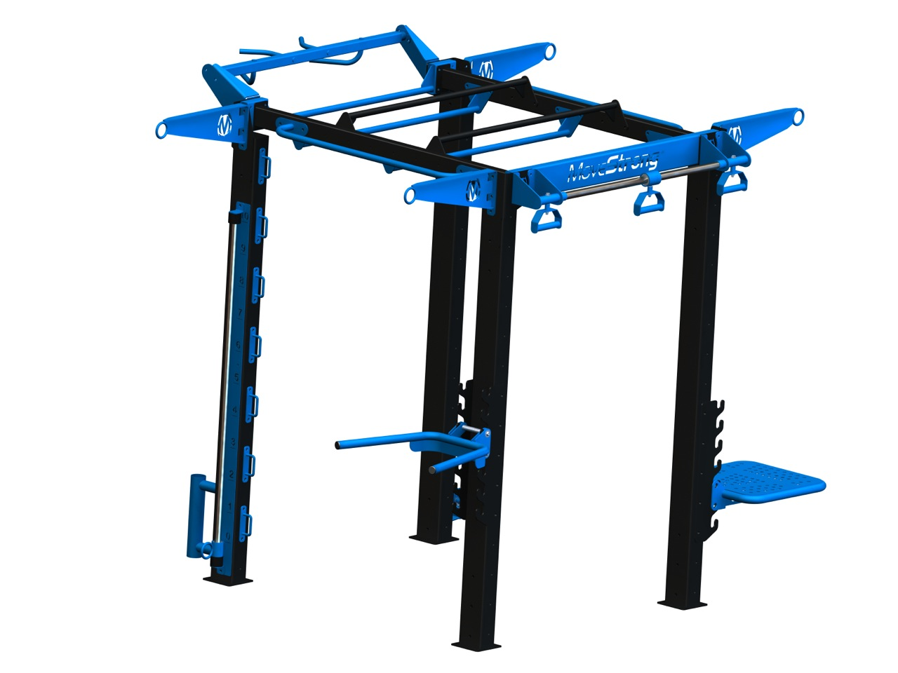 """NOVA FTS-4:  Space efficient,smaller version of Standard NOVA-6 FTS. Shown with Dip, Step, Sliding pull-up, Free slide rope anchors, suspension hangers, Bent handle grip pull-up bar, base rope vertical anchor  6'1""""L x 5' 7"""" W x 8'2"""" H *"""