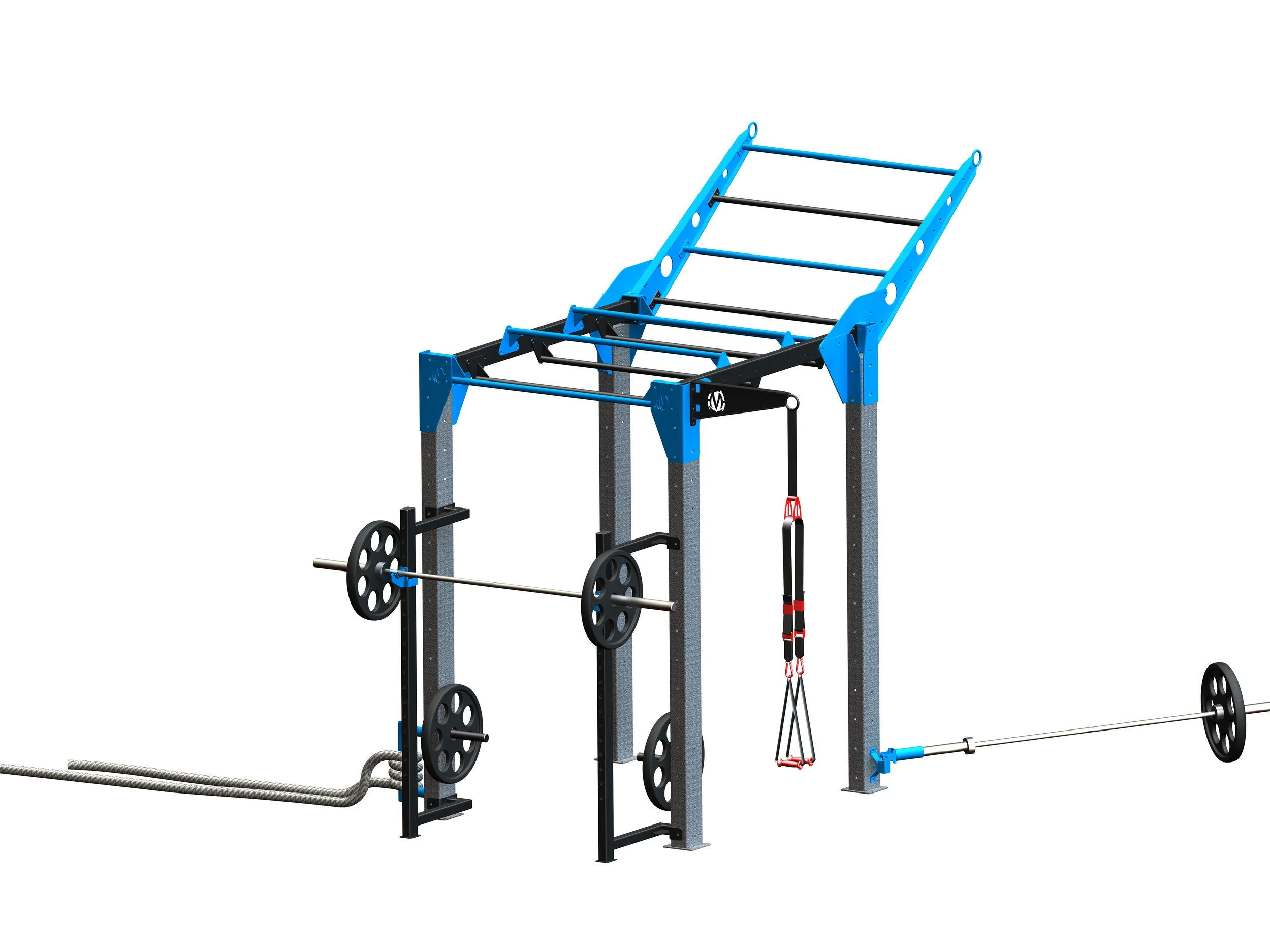 """NOVA-4 FTS with Climber bar and NEW Squat Stand Uprights   New feature offers squat stand uprights with adjustable j-hooks to perform olympic barbell work.  11'11""""L x 5'7"""" W x 10'4"""" H ( with tiered climber bar at end) *"""