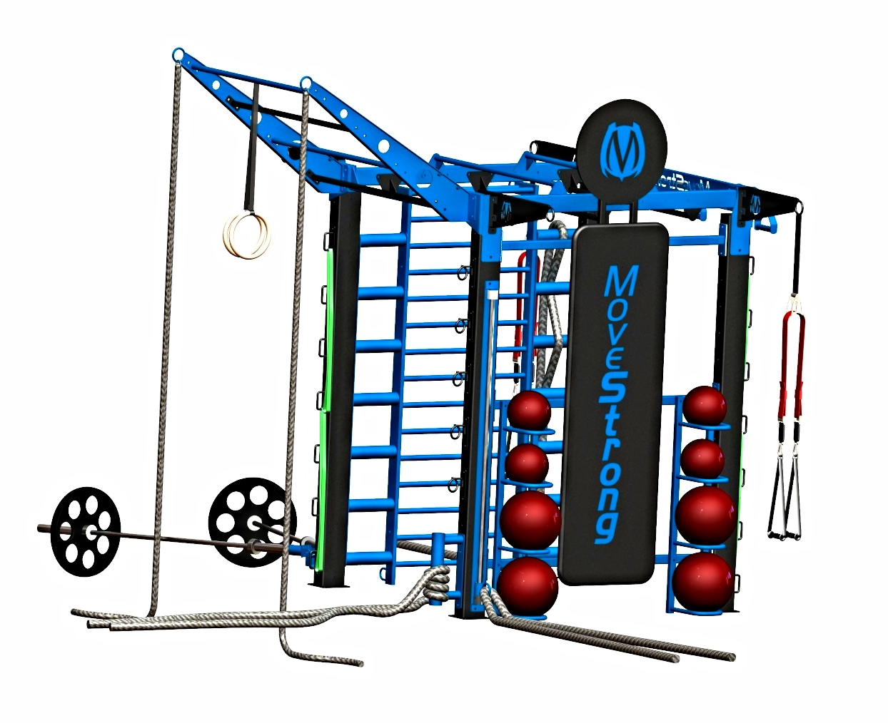"""NOVA-4 FTS with Kickplate, Stall bars, Rope Ladder, Sliding pull-up, G-loops, Suspension hanger, and tiered Climber bars   Storage for medicine balls, dedicated anchors for suspension trainer, climbing ropes, resistance bands  10'7"""" L x 5'7"""" W x 10'4"""" H ( with tiered climber bar at end )*"""