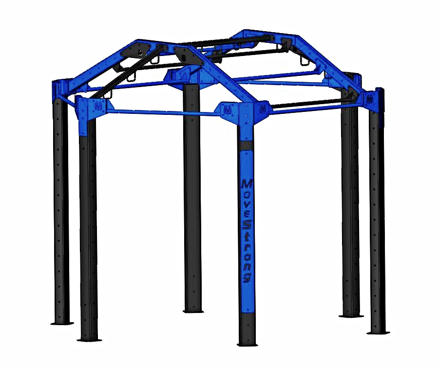 """Standard NOVA-6 FTS with Arch Bridge:  Arch bridge for monkey bars, more pull-up bars,and high anchor points for Ropes/Rings  11'5"""" L x 10'2"""" W x 9'7"""" H *"""